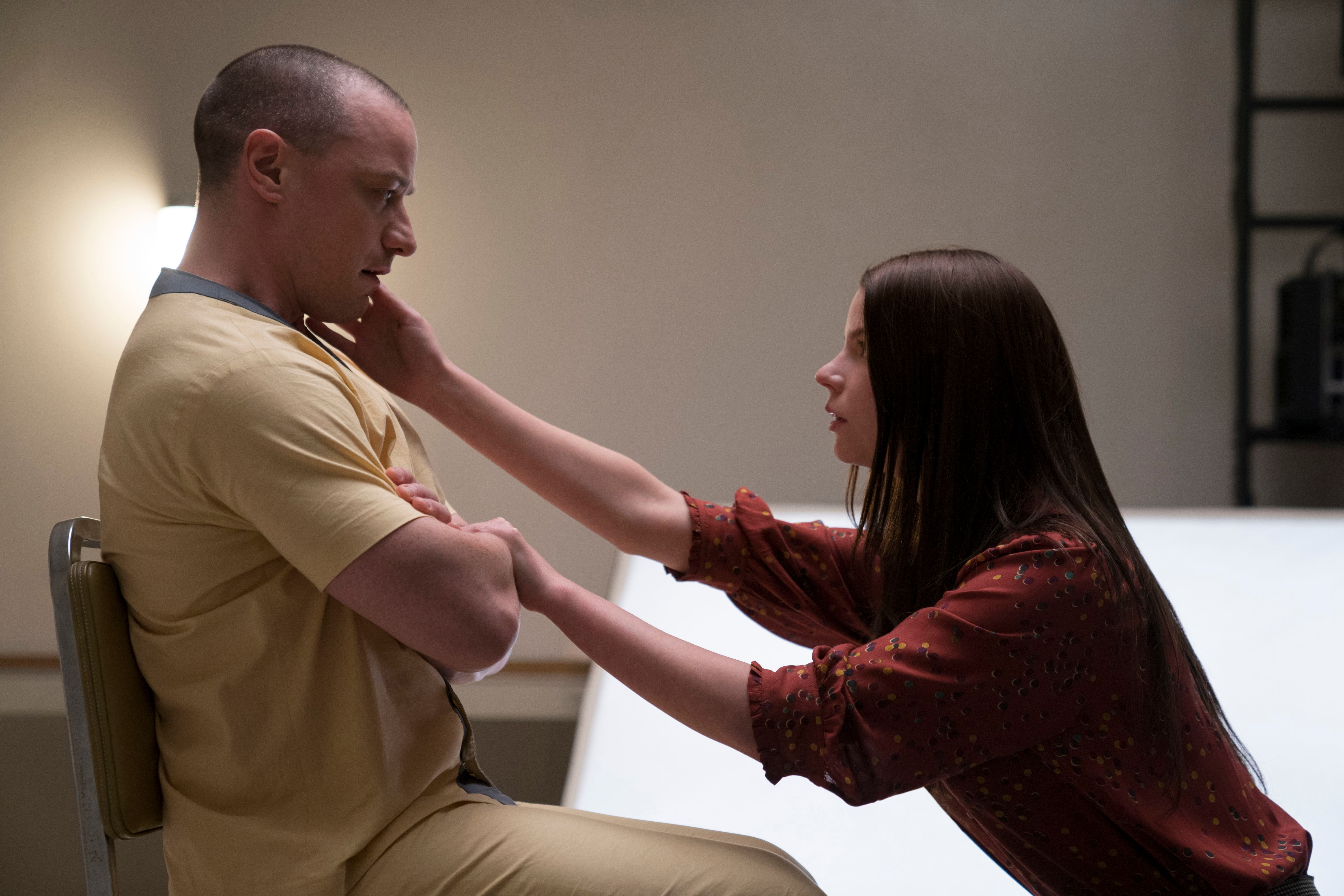 James McAvoy as Kevin Wendell Crumb/The Horde and Anya Taylor-Joy as Casey Cooke in 'Glass'