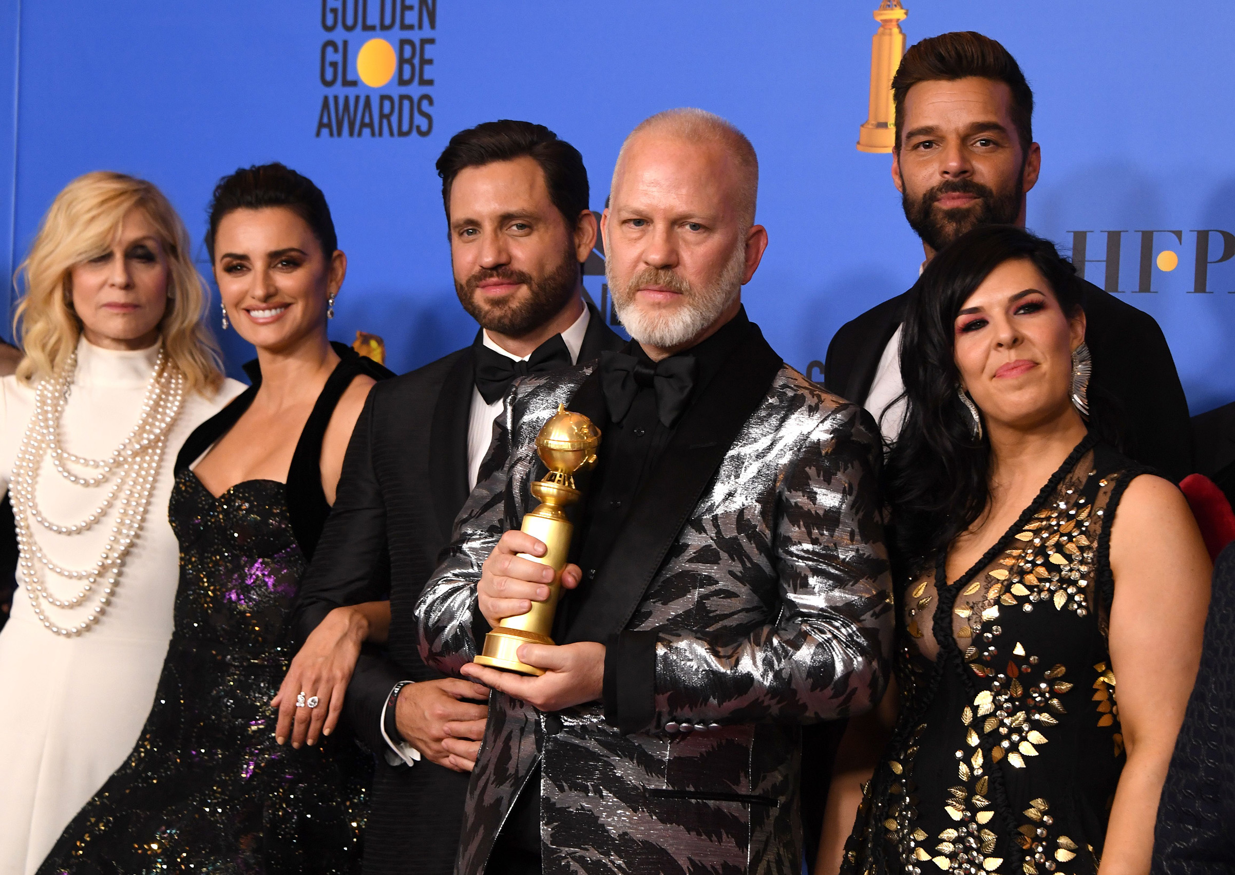 Best Limited Series or Motion Picture Made for Television  The Assassination of Gianni Versace  winners producer Ryan Murphy and actors Penelope Cruz, Edgar Ramirez, Ricky Martin pose with the award during the 76th annual Golden Globe Awards.