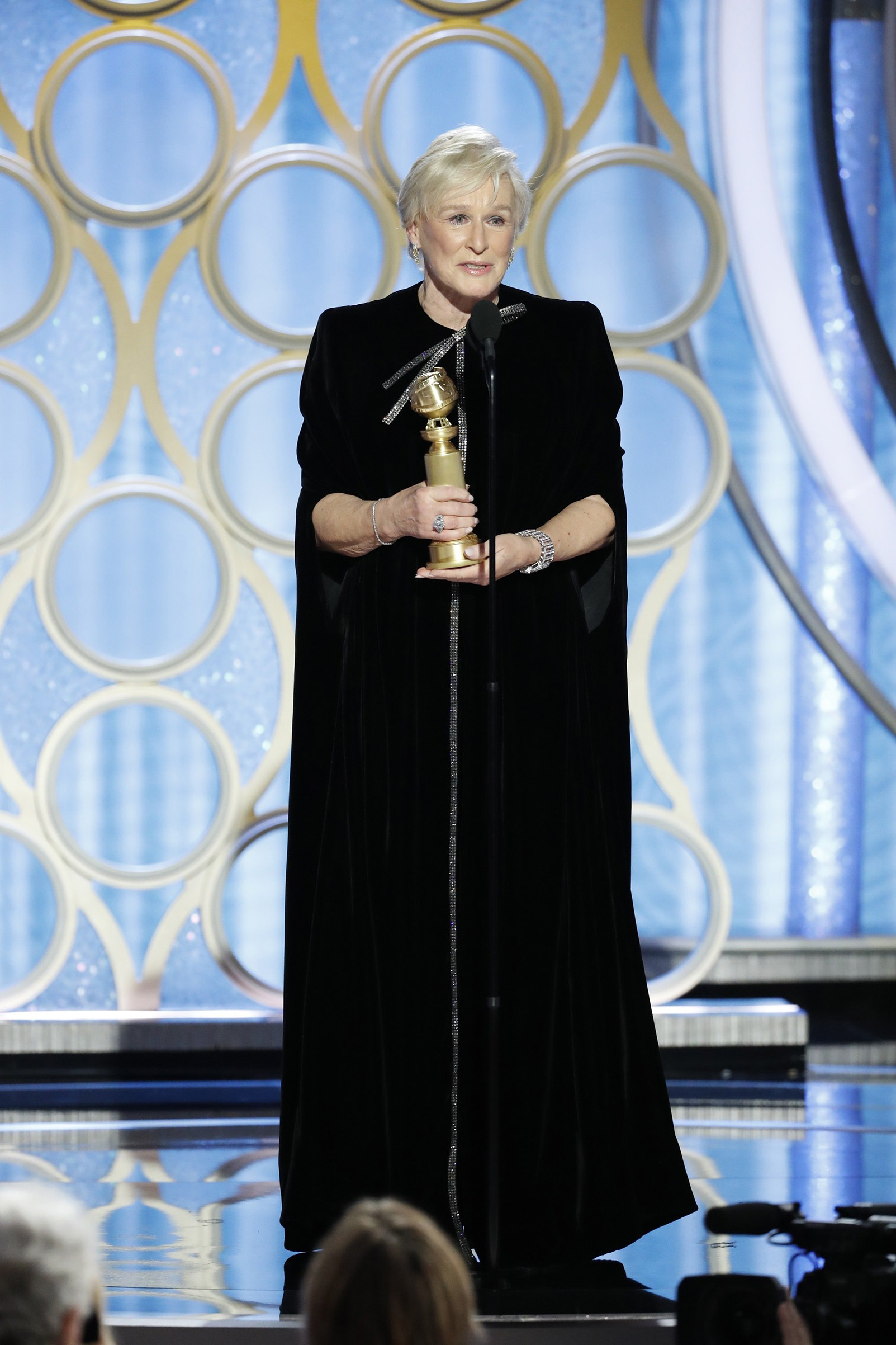 Glenn Close, winner of Best Actress - Motion Picture, Drama, accepts her award during the 76th Annual Golden Globe Awards.