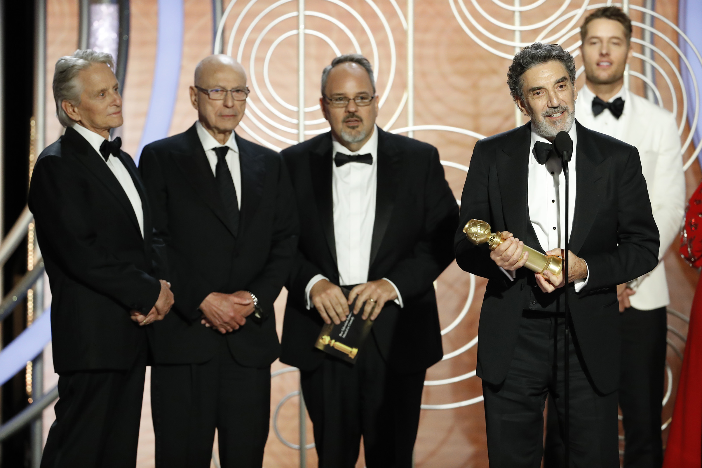 "Chuck Lorre and Al Higgins of ""The Kominsky Method"" accept the Best Television Series – Musical or Comedy award onstage during the 76th Annual Golden Globe Awards."