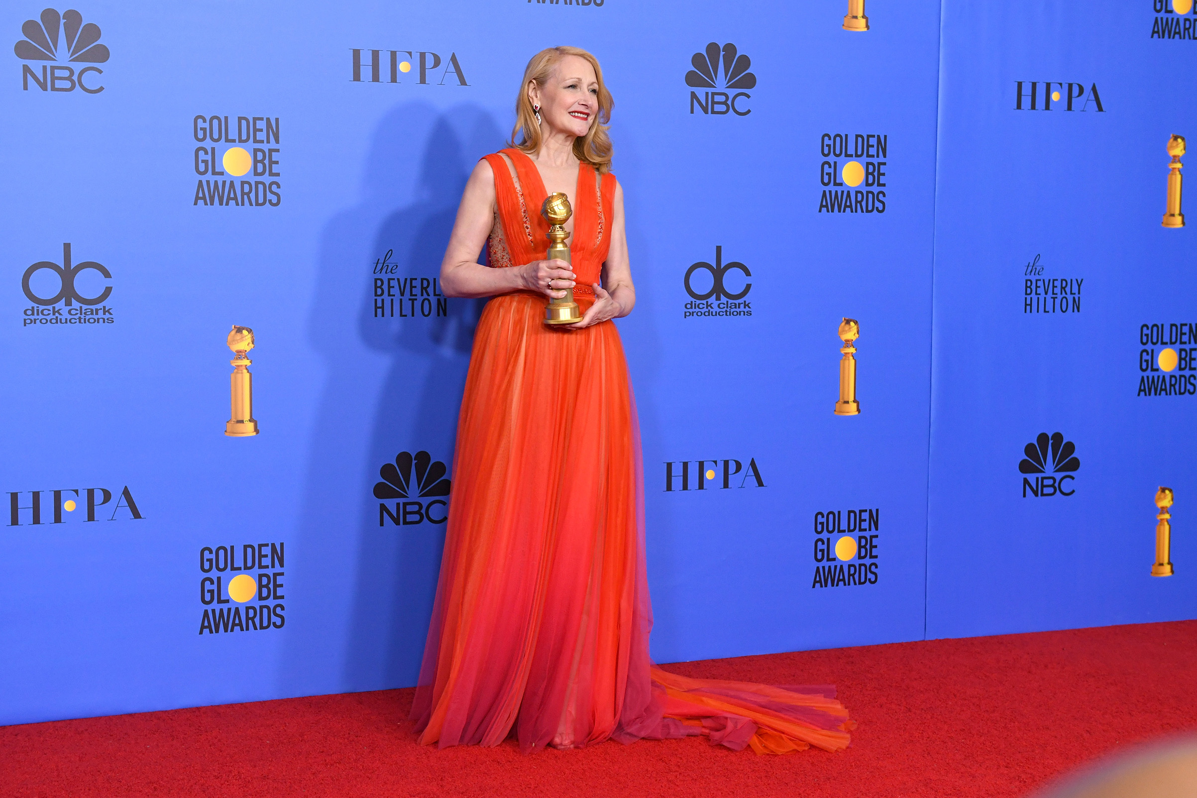 Best Performance by an Actress in a Supporting Role in a Series, Limited Series or Motion Picture Made for Television for 'Sharp Objects' winner Patricia Clarkson poses in the press room during the 76th Annual Golden Globe Awards.