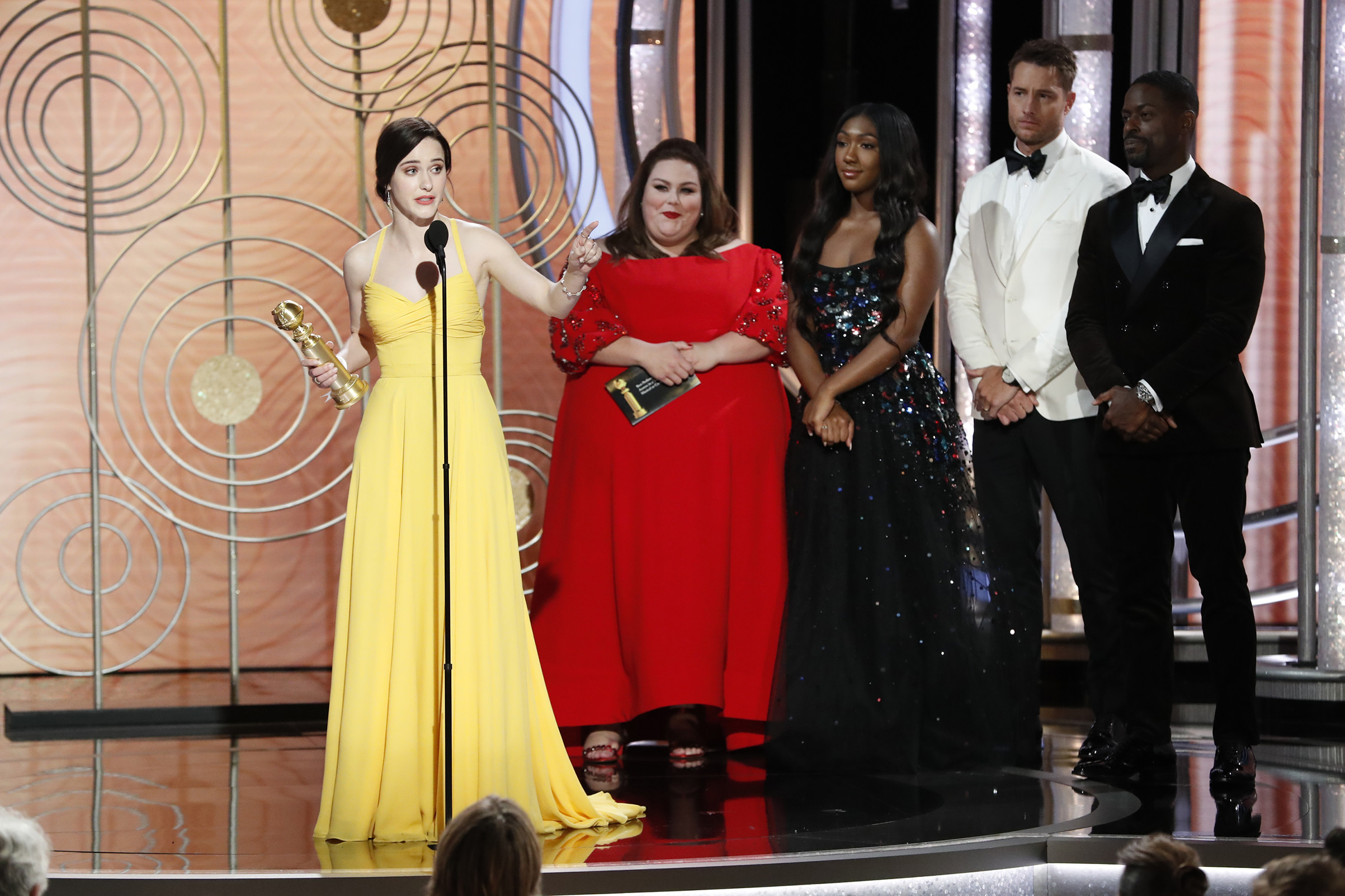 "Rachel Brosnahan from ""The Marvelous Mrs. Maisel"" accepts the Best Performance by an Actress in a Television Series – Musical or Comedy award onstage during the 76th Annual Golden Globe Awards."