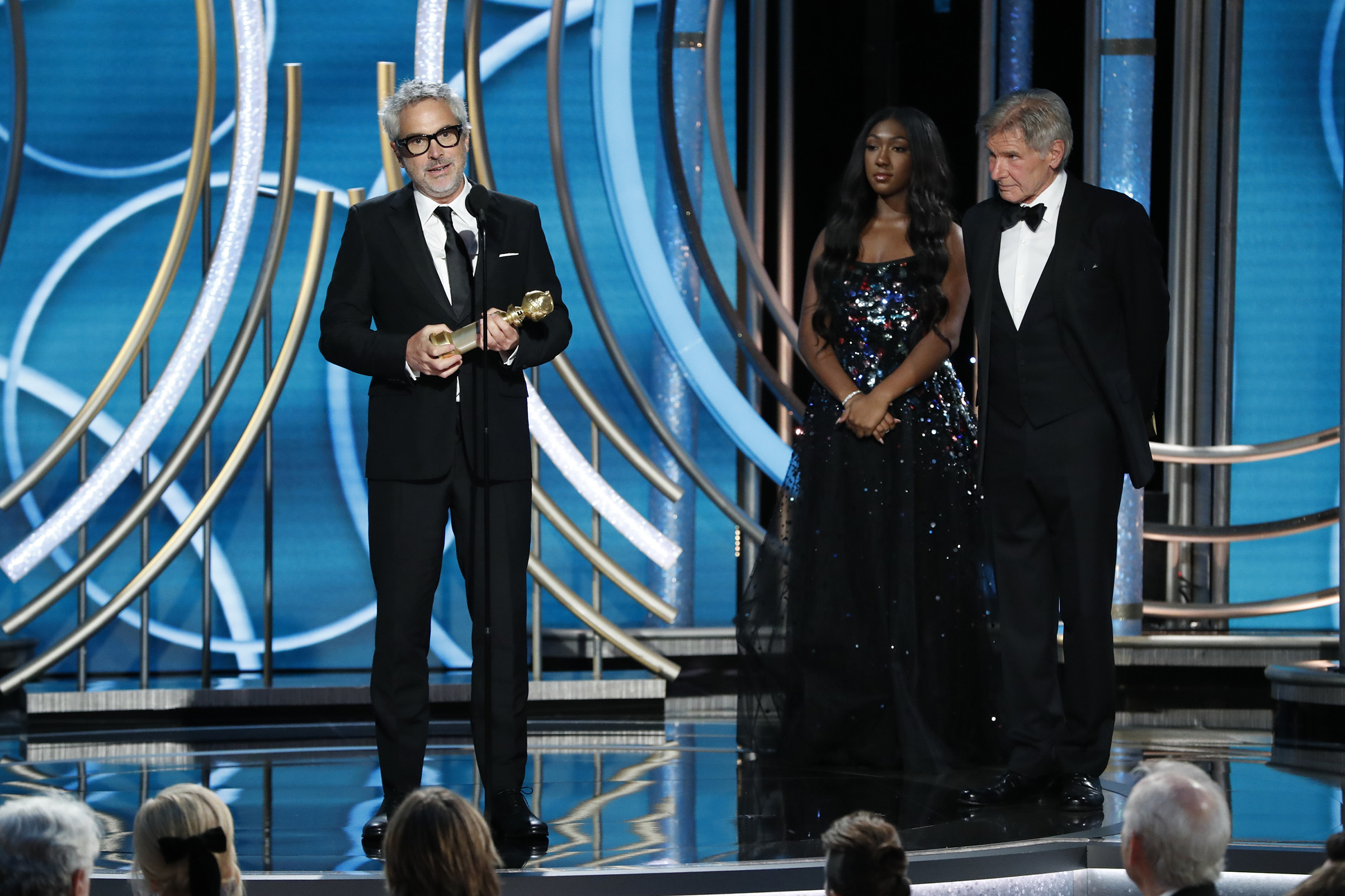 "Alfonso Cuaron of ""Roma"" accepts the Best Director – Motion Picture award onstage during the 76th Annual Golden Globe Awards."