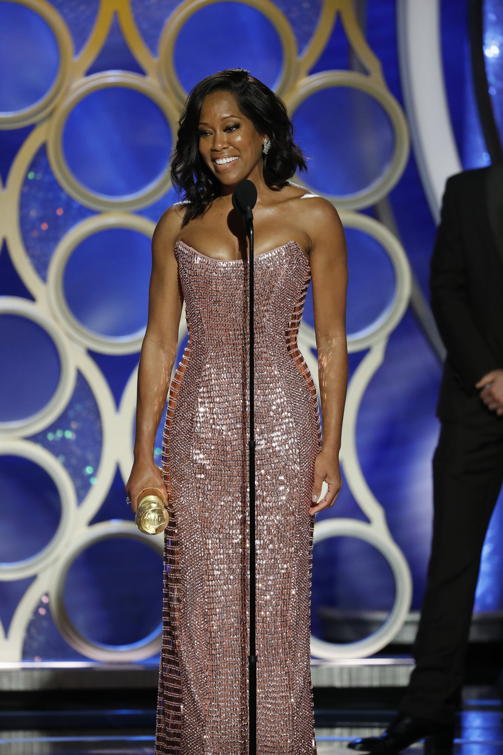 "Regina King from ""If Beale Street Could Talk"" accepts the Best Actress in a Supporting Role in any Motion Picture award onstage during the 76th Annual Golden Globe Awards."