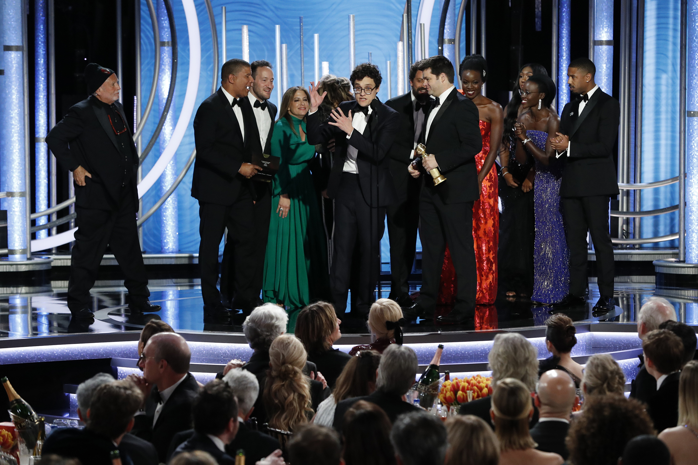 "Phil Lord from the ""Spider-Man: Into the Spider-Verse"" accepts the Best Motion Picture – Animated award onstage during the 76th Annual Golden Globe Awards."
