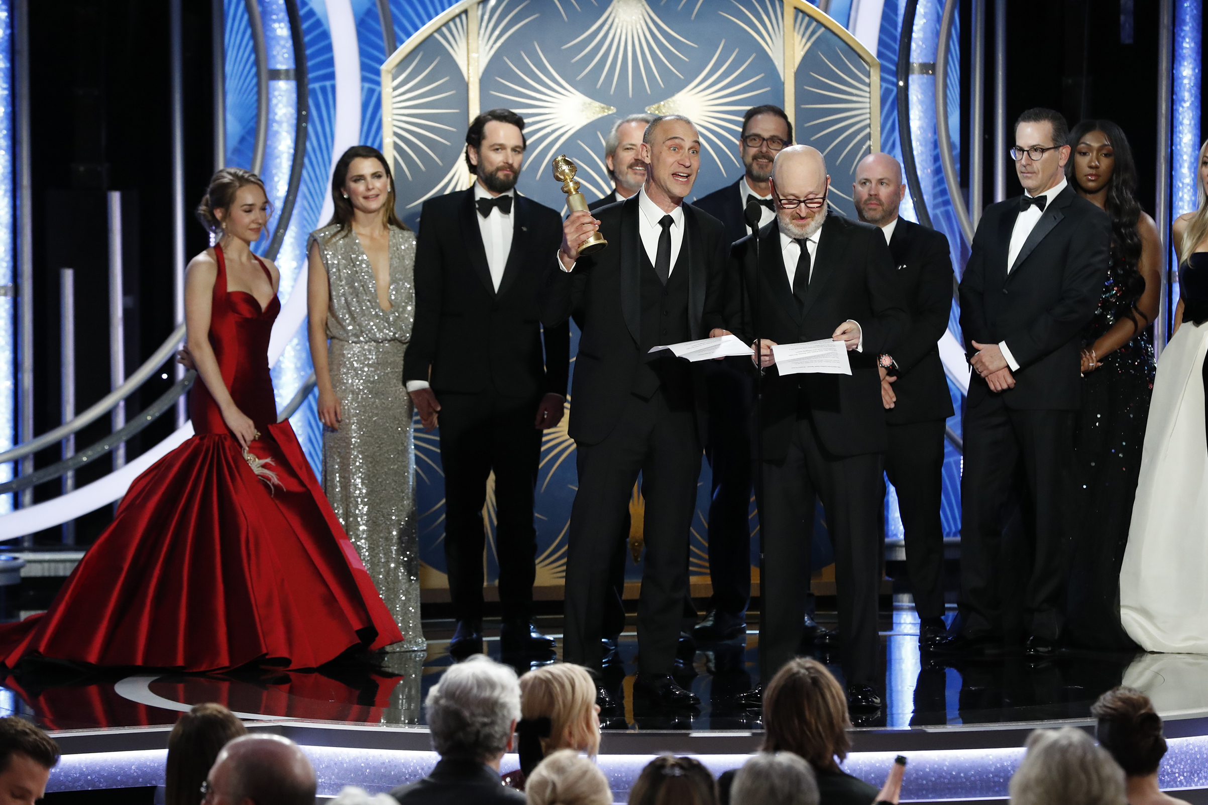 "Joe Weinberg (R) from ""The Americans"" accept the Best Television Series – Drama award onstage during the 76th Annual Golden Globe Awards."