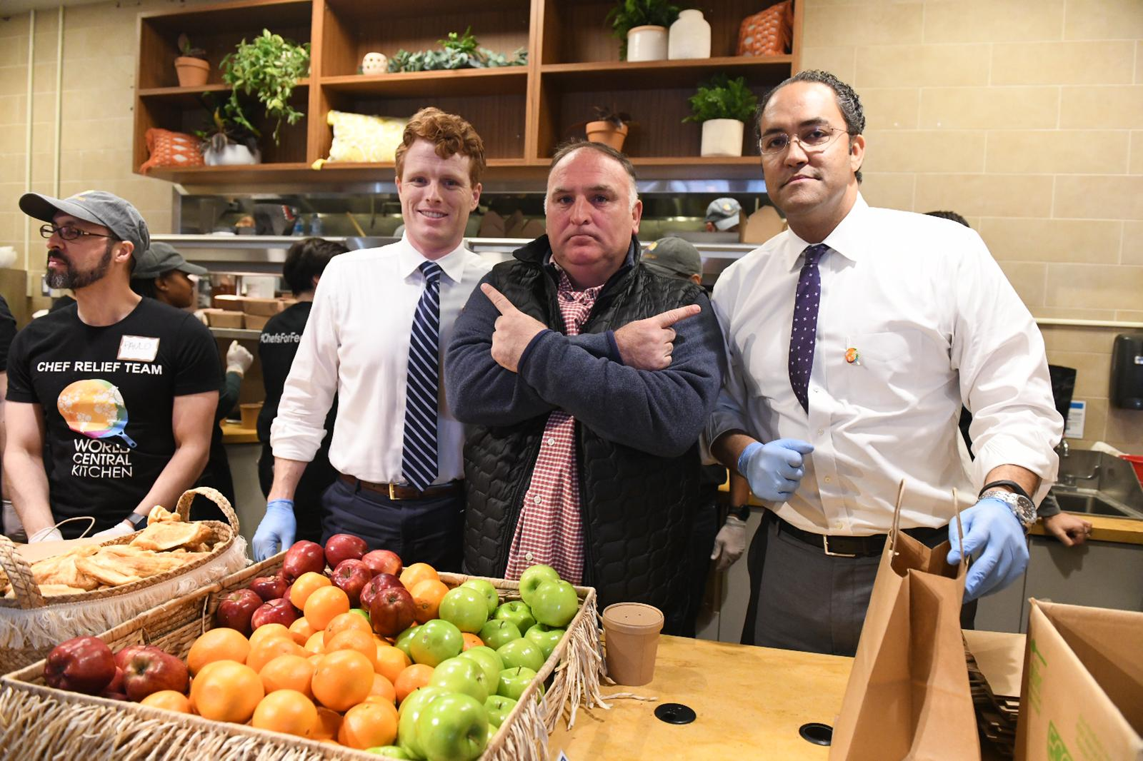 Democratic Rep. Joe Kennedy III of Massachusetts (left), Washington chef José Andrés and Republican Rep. Will Hurd of Texas work together in Andrés' soup kitchen for furloughed workers on Jan. 23, 2019.