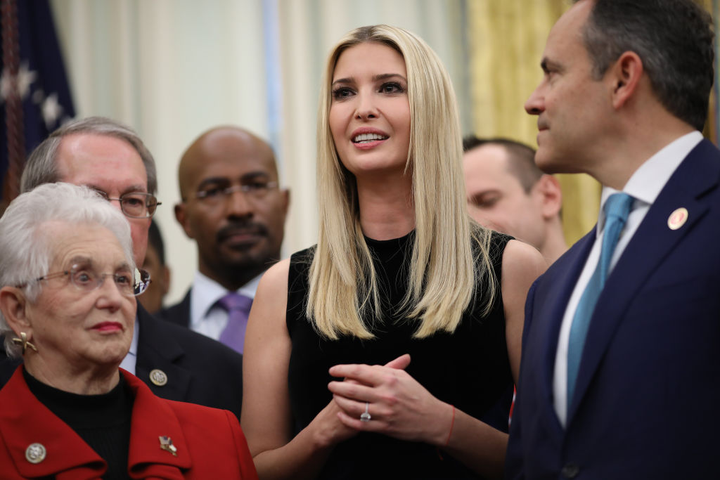 Ivanka Trump delivers remarks during the signing ceremony for the First Step Act and the Juvenile Justice Reform Act in the Oval Office of the White House December 21, 2018 in Washington, DC.
