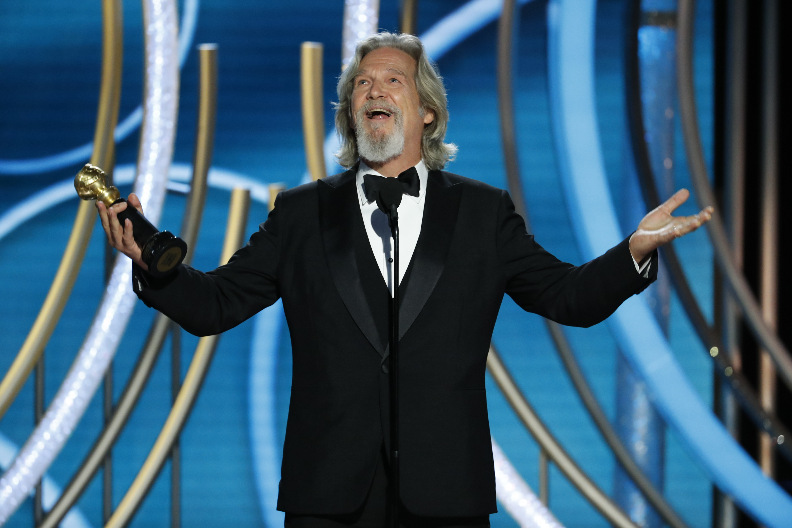 In this handout photo provided by NBCUniversal,  Jeff Bridges accepts the Cecil B. Demille Award  onstage during the 76th Annual Golden Globe Awards at The Beverly Hilton Hotel on January 06, 2019 in Beverly Hills, California.  (Photo by Paul Drinkwater/NBCUniversal via Getty Images)