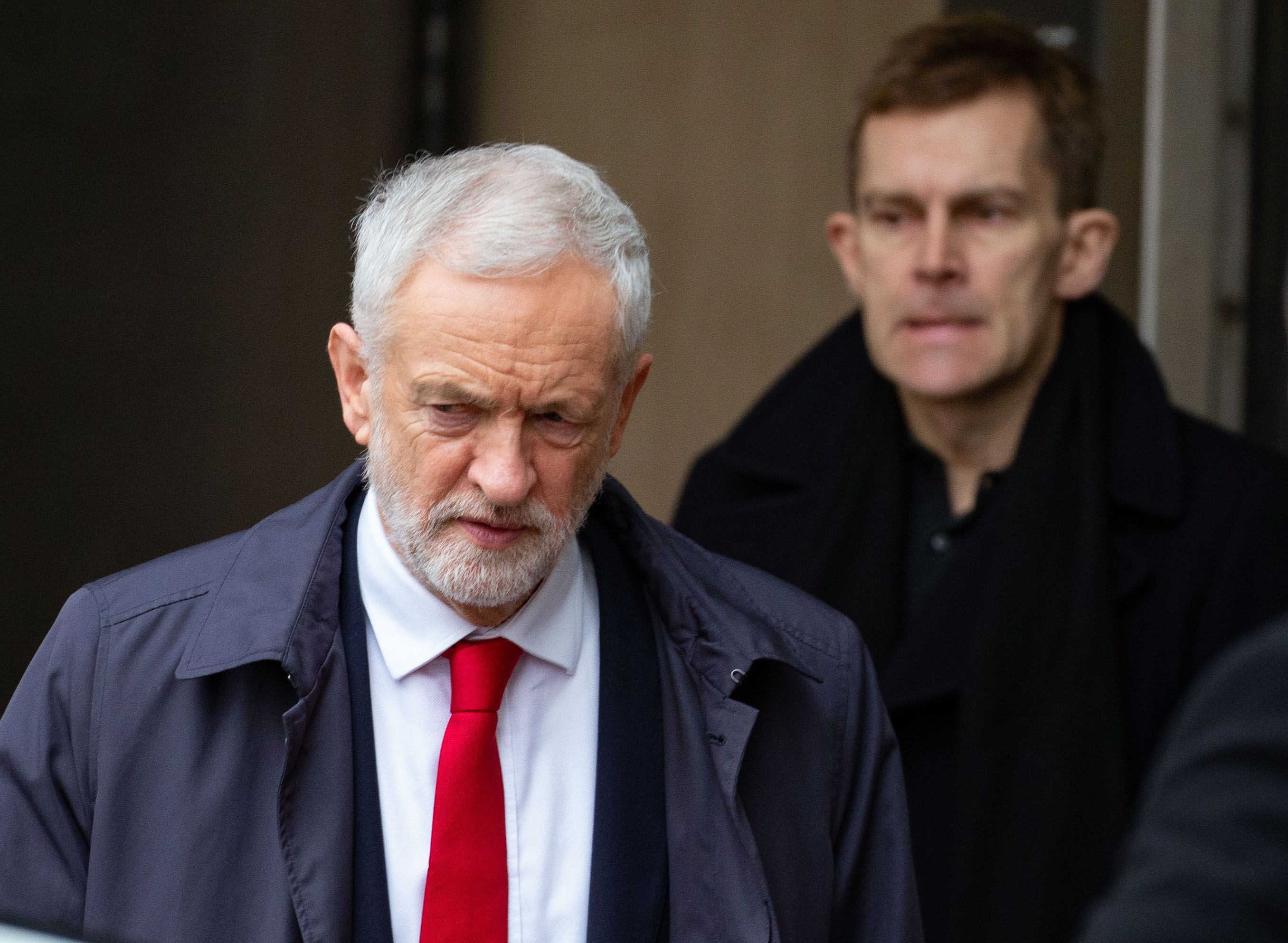 Leader of the Labour Party, Jeremy Corbyn, leaves the BBC Studios after appearing on The Andrew Marr Television Show on Jan. 13, 2019.
