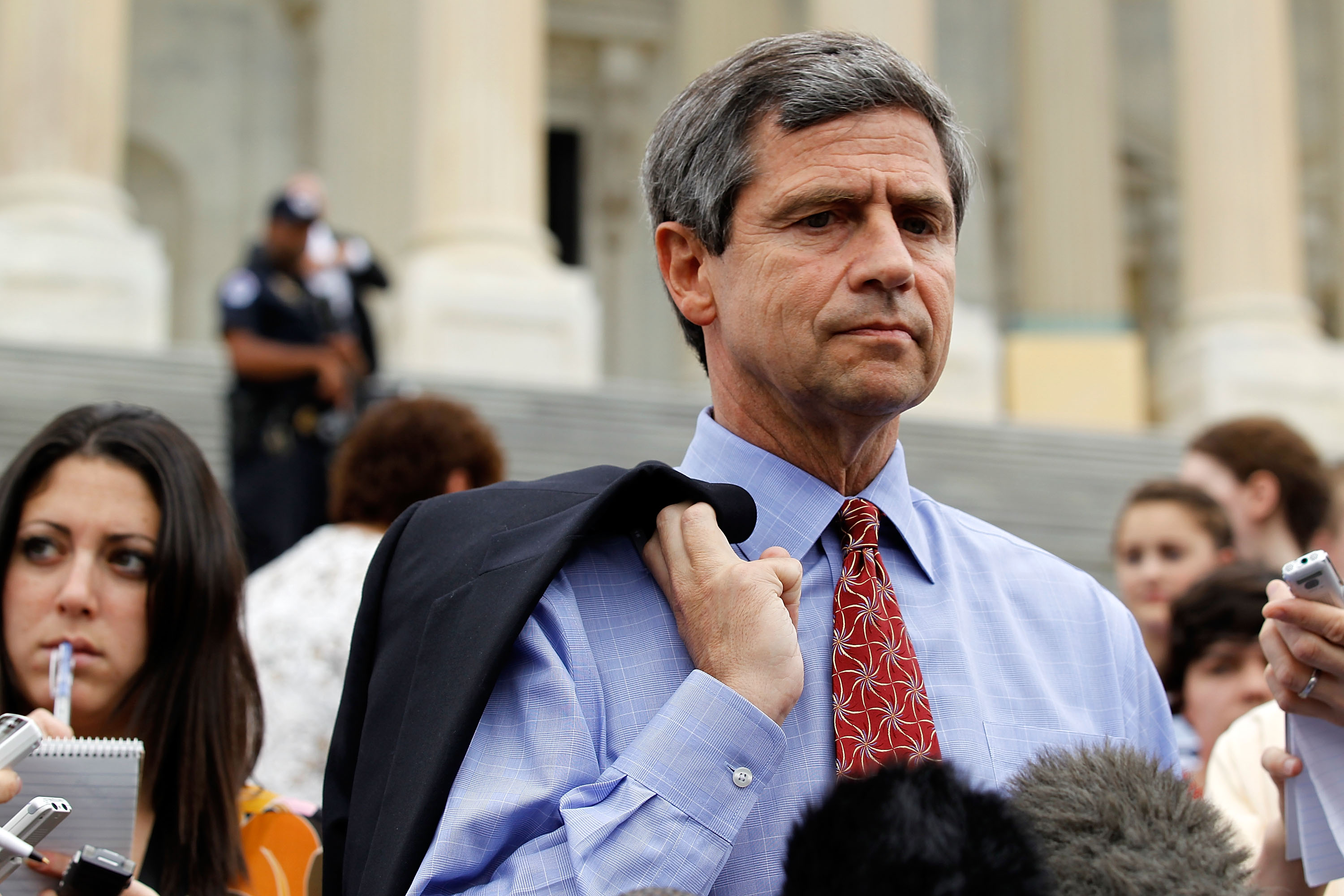 Rep. Joe Sestak (D-PA) speaks to the media outside the Capitol May 28, 2010 on Capitol Hill in Washington, DC. Sestak responded to the allegation of the job offer by the White House in exchange his drop-out from the Democratic senate primary against Sen. Arlen Specter. (Photo by Alex Wong/Getty Images)