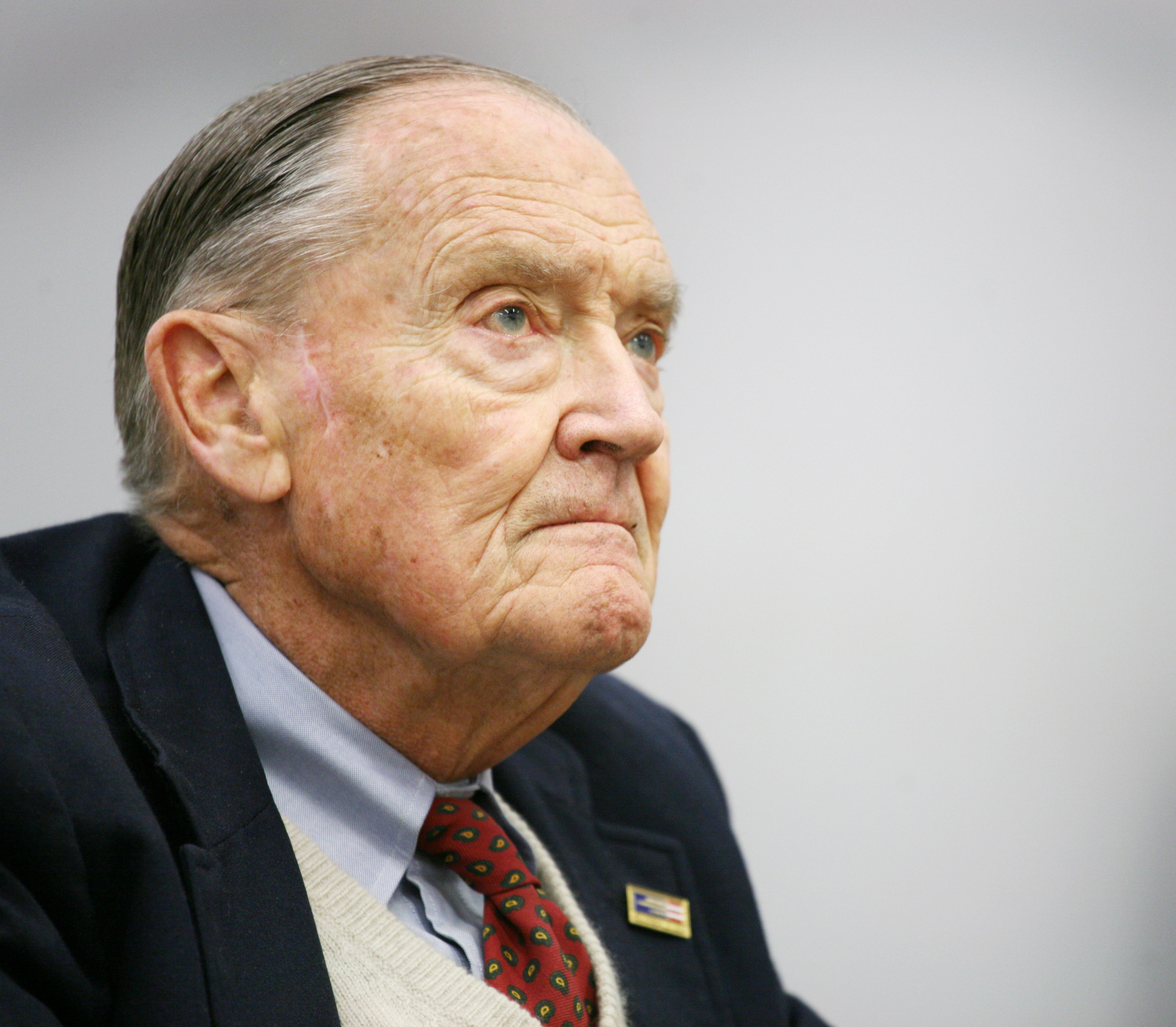 John Bogle, founder of The Vanguard Group, listens during an interview at The Associated Press on in New York on May 20, 2008. Bogle died on Jan. 16, 2019 at the age of 89.