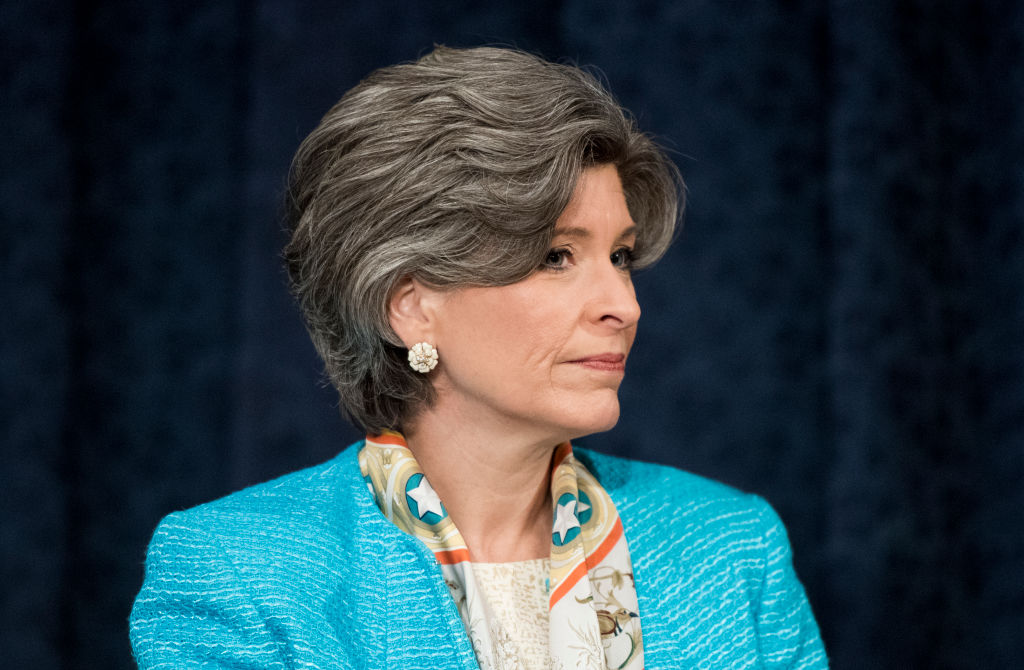 Republican Iowa Sen. Joni Ernst arrives for the confirmation hearing of Andrew Wheeler to be administrator of the Environmental Protection Agency in the Senate Environment and Public Works Committee on Jan. 16, 2019 in Washington D.C. On Jan. 24, 2019 revealed to Bloomberg News that she was raped in college and physically abused by her husband.