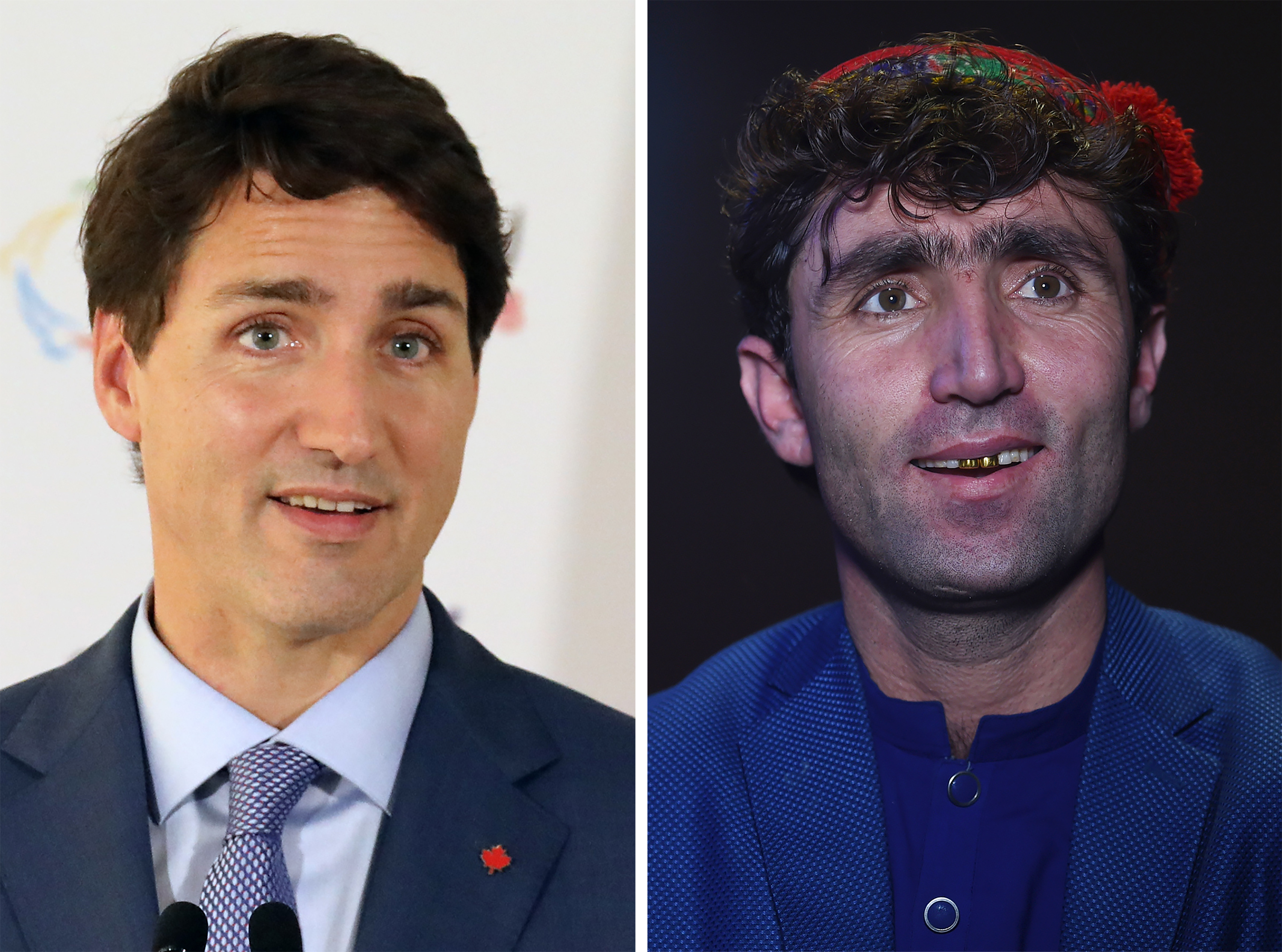 This combo shows a file photo taken on October 12, 2018 of Canada's Prime Minister Justin Trudeau (L) speaking at the end of the 17th Francophone countries summit in the Armenian city of Yerevan; and an image of Abdul Salam Maftoon (R), an Afghan singer and contestant of the television music competition 'Afghan Star', speaking during an interview with AFP in Kabul on January 13, 2019.