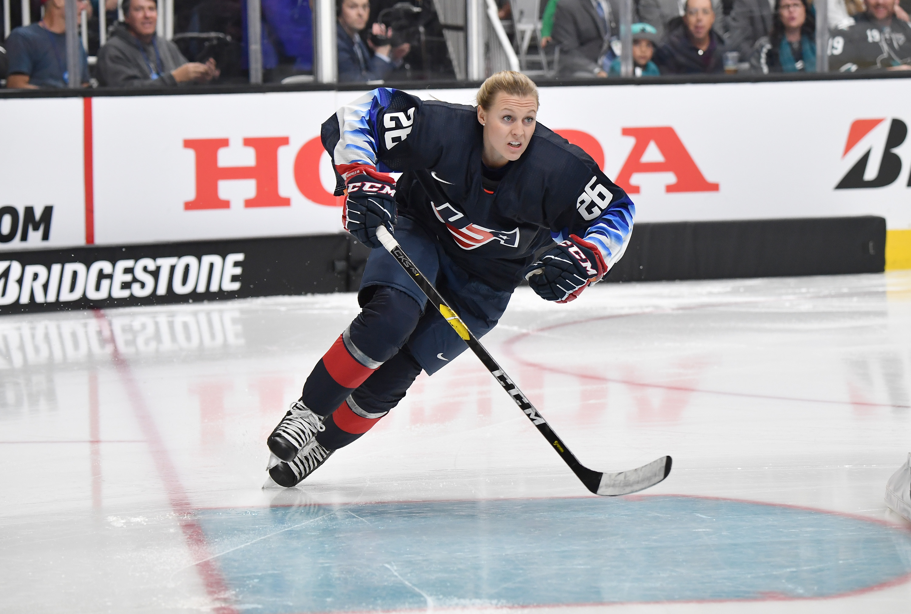 Kendall Coyne #26 of the U.S. Women's National hockey team skates prior to the Bridgestone NHL Fastest Skater during the 2019 SAP NHL All-Star Skills at SAP Center on January 25, 2019 in San Jose, California.  (Photo by Brandon Magnus/NHLI via Getty Images)