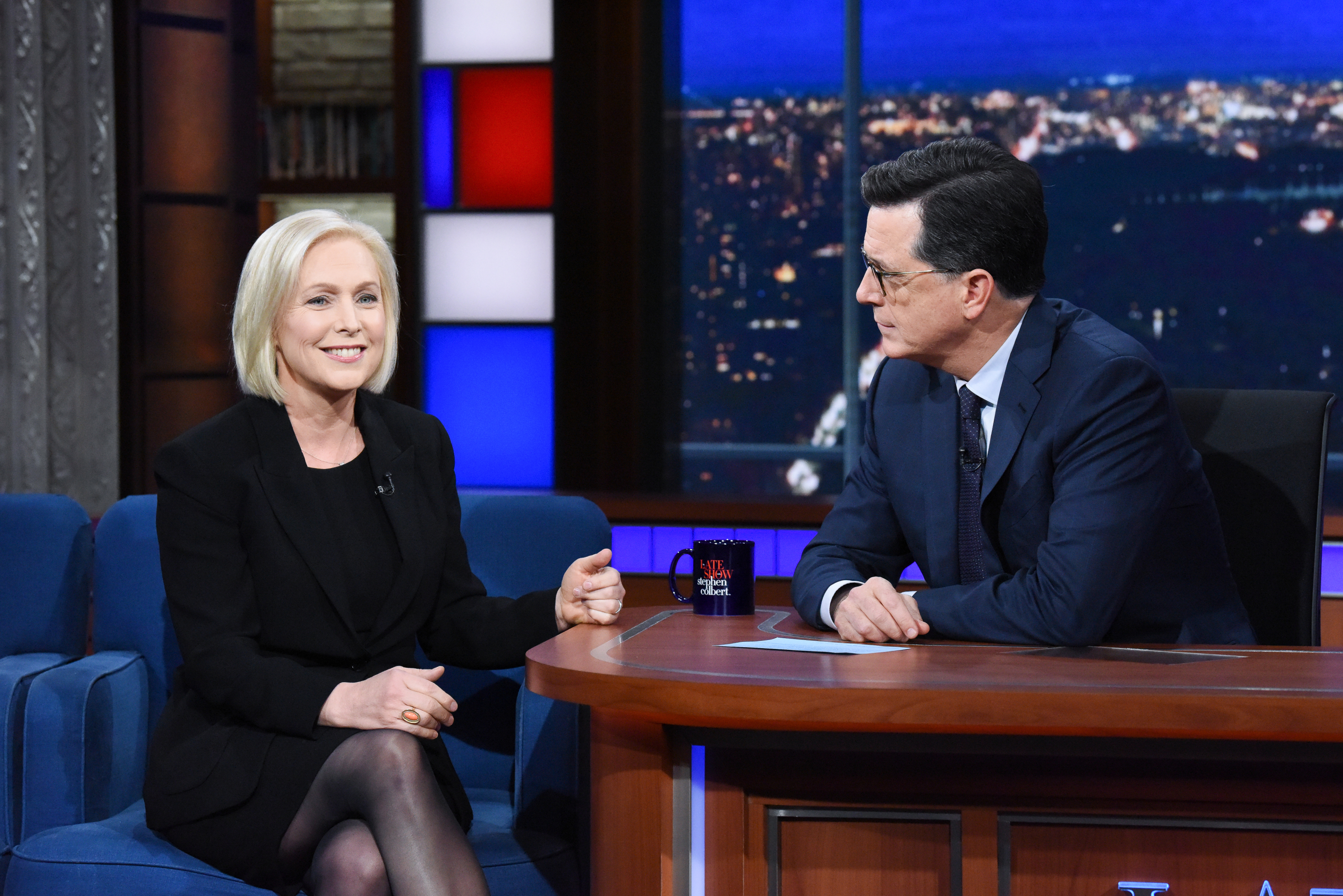 NEW YORK - NOVEMBER 8: The Late Show with Stephen Colbert and guest Sen. Kirsten Gillibrand during Thursday's November 8, 2018 live show. (Photo by Scott Kowalchyk/CBS via Getty Images)