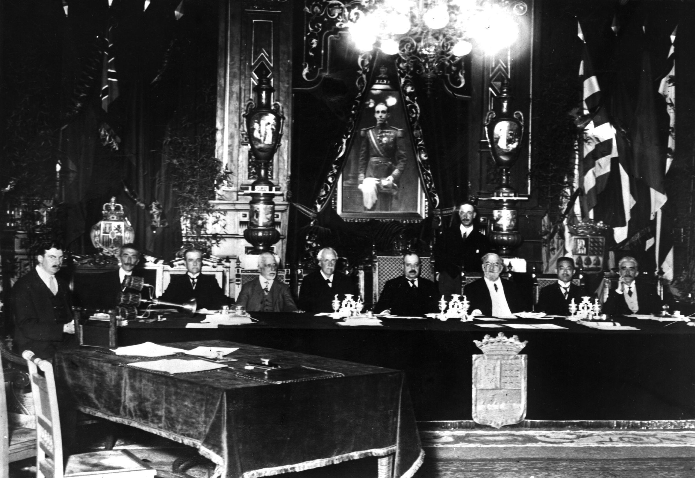 Nov. 15, 1920:  The first session of the Council of the League of Nations with their coat-of-arms.