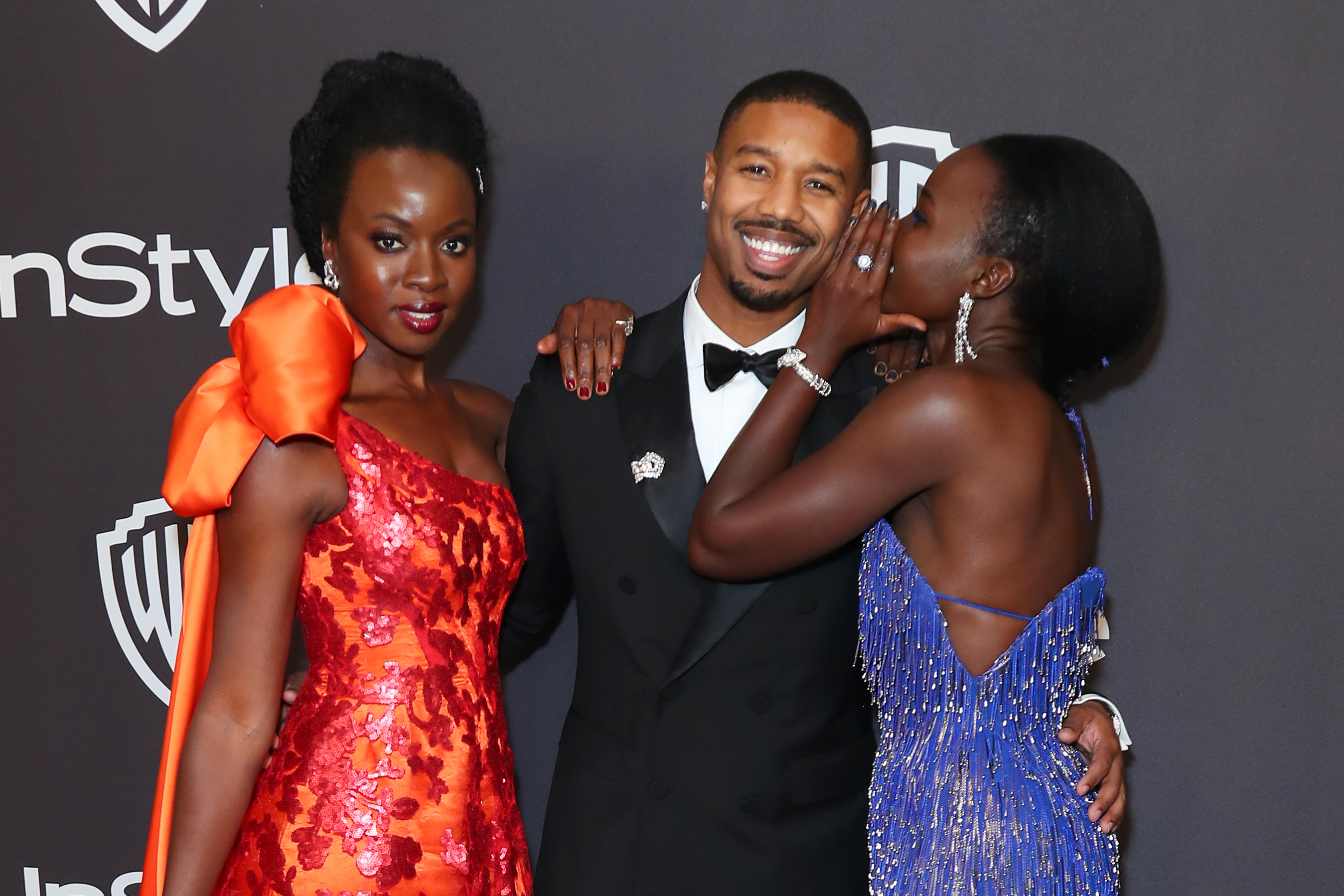 (L-R) Danai Gurira, Michael B. Jordan, and Lupita Nyong'o attends InStyle And Warner Bros. Golden Globes After Party 2019 at The Beverly Hilton Hotel on January 06, 2019 in Beverly Hills, California. (Photo by Leon Bennett/FilmMagic)