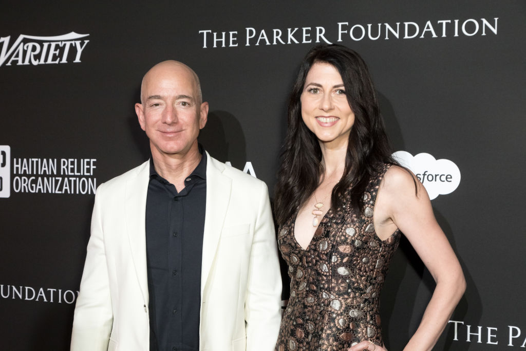 In this file photo, CEO of Amazon Jeff Bezos and MacKenzie Bezos attend an event at Milk Studios on January 6, 2018 in Los Angeles, California. The couple is getting a divorce, which may make Mackenzie Bezos the richest woman in the world.