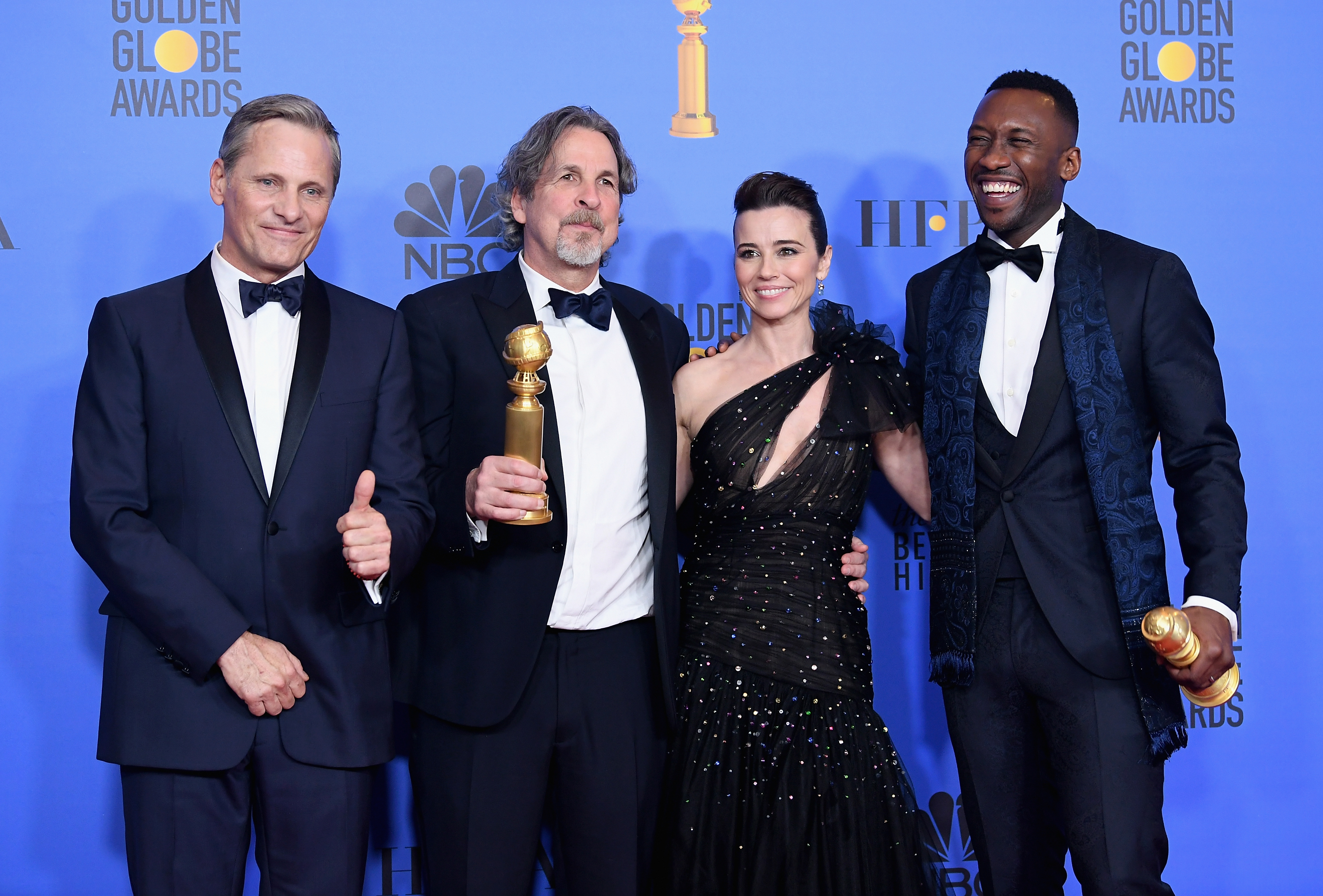 From left, Viggo Mortensen, Peter Farrelly, Linda Cardellini, and Mahershala Ali pose in the press room during the 76th Annual Golden Globe Awards at The Beverly Hilton Hotel on January 6, 2019 in Beverly Hills, California.  (Photo by Kevin Winter/Getty Images)