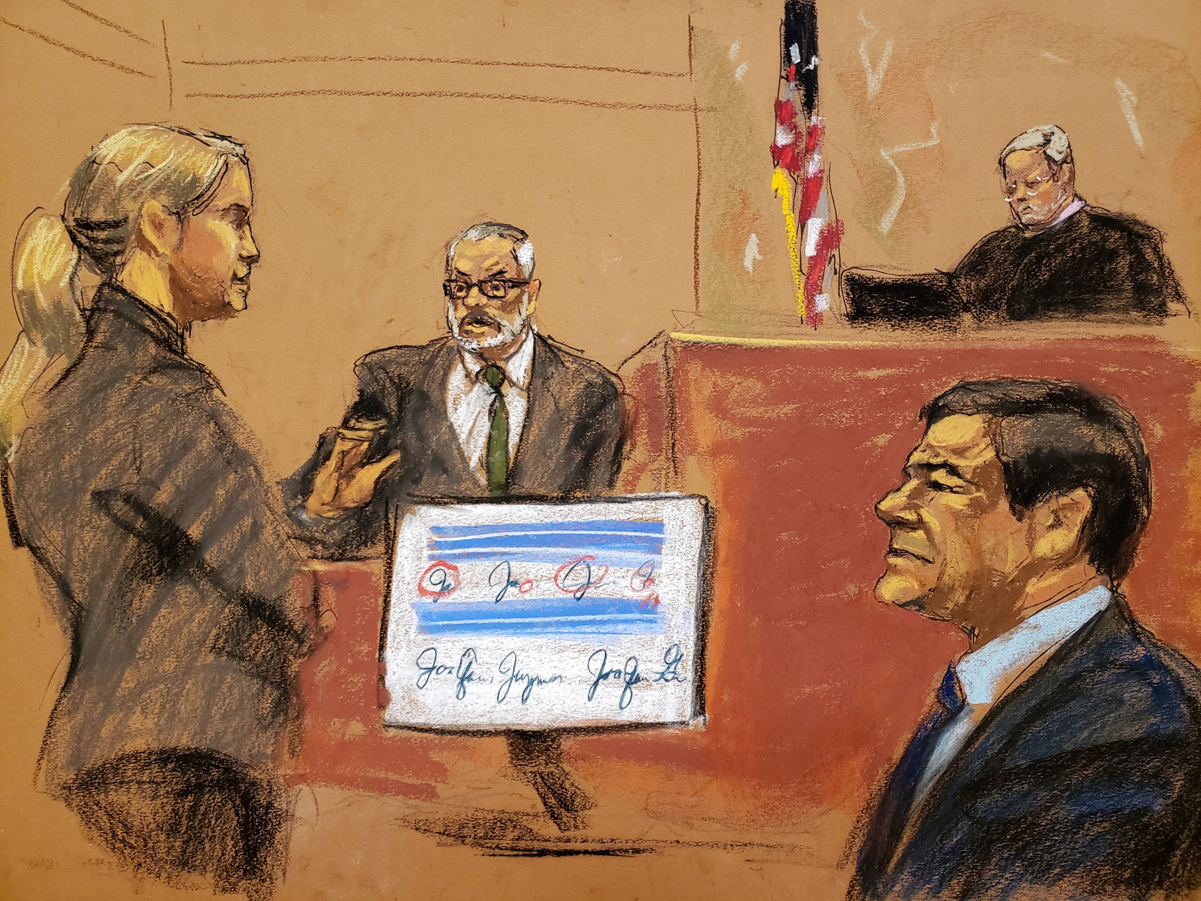 Assistant U.S. Attorney Amanda Liskamm questions Damaso Lopez Nunez on the witness stand in this courtroom sketch during the Brooklyn federal court trial of accused Mexican durg lord Joaquin  El Chapo  in New York City, on Jan. 24, 2019.