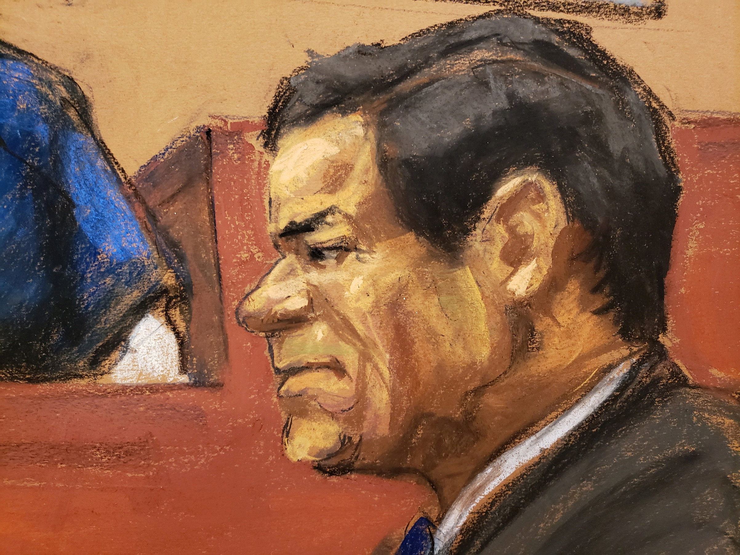The accused Mexican drug lord Joaquin  El Chapo  Guzman listens to a testimony by Isaias Valdez Rios (not shown) in this courtroom sketch during Guzman's trial in Brooklyn federal court in New York City, on Jan. 24, 2019.