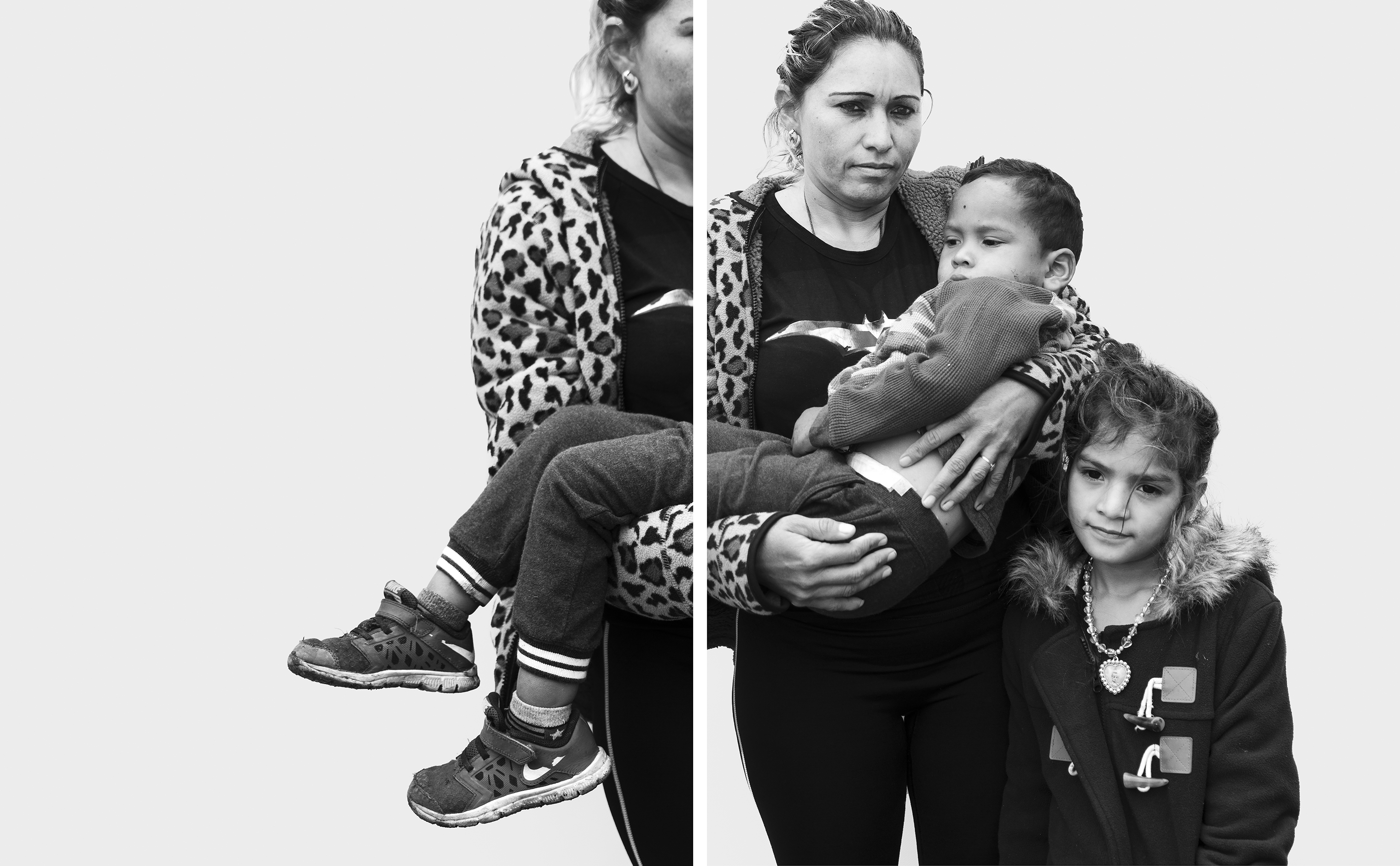 Merlin Alfaro, 31, and her children, José Luis Guevara, 3, and Maydelin Guevara, 7, traveled from their home in Honduras to Tijuana, Mexico, at the southern U.S. border with a migrant caravan in late 2018