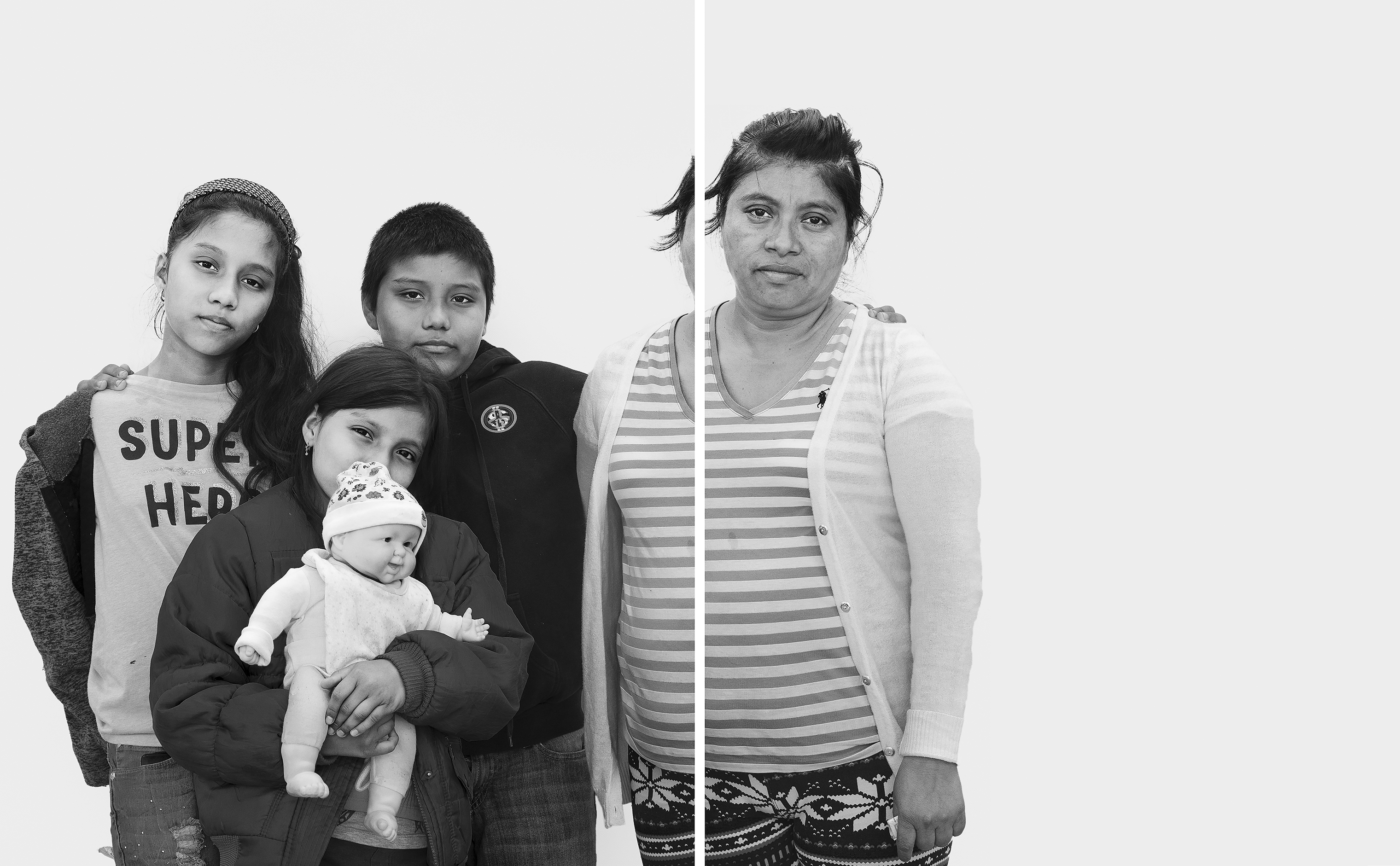 Violeta Monterroso, 42, and her children, Kenia, 12; Isaac, 11; and Yeimi, 9. Monterroso fled Guatemala in mid-October 2018 with her husband, Cándido Calderón, 42. Gang members threatened to kill Calderón and Monterroso's children if they did not pay roughly $1,200—the equivalent of five months' income from the family's juice stall.