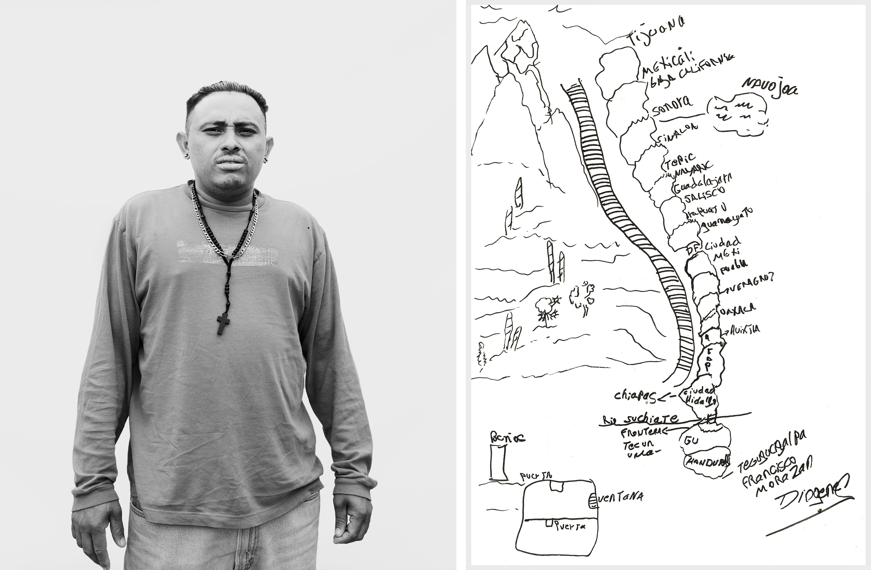Diógenes Banegas, 34, drew a map of his journey to the U.S. border from his home in Tegucigalpa, Honduras