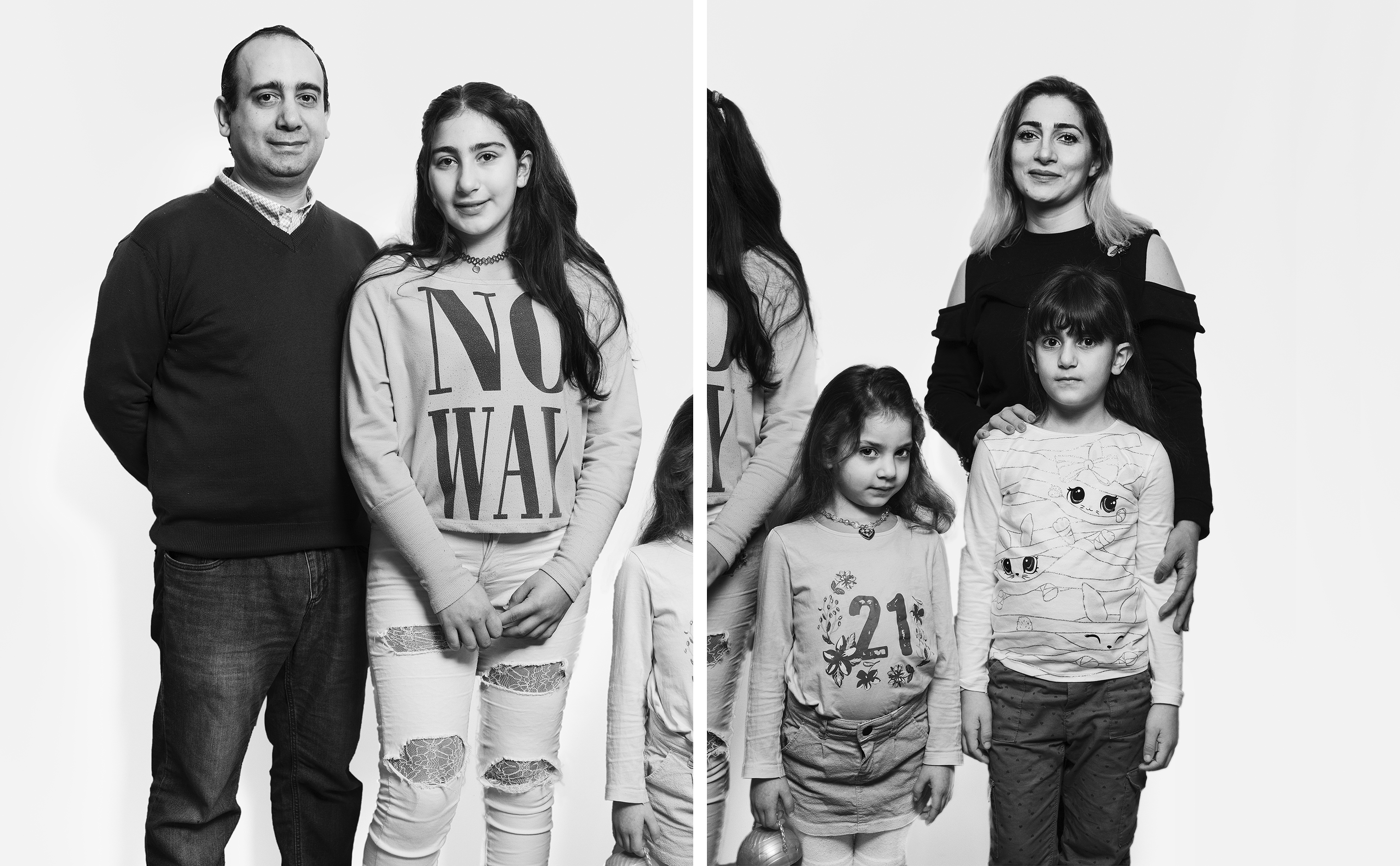 Sami Baladi, 43, and his wife Mirey Darwich, 37 (far right), fled the civil war in Syria with their children Fabienne, 12, and Joyce, 7. Darwich was pregnant with Clara, 4, when they left their home. The family now runs a Syrian restaurant in Lippstadt, Germany