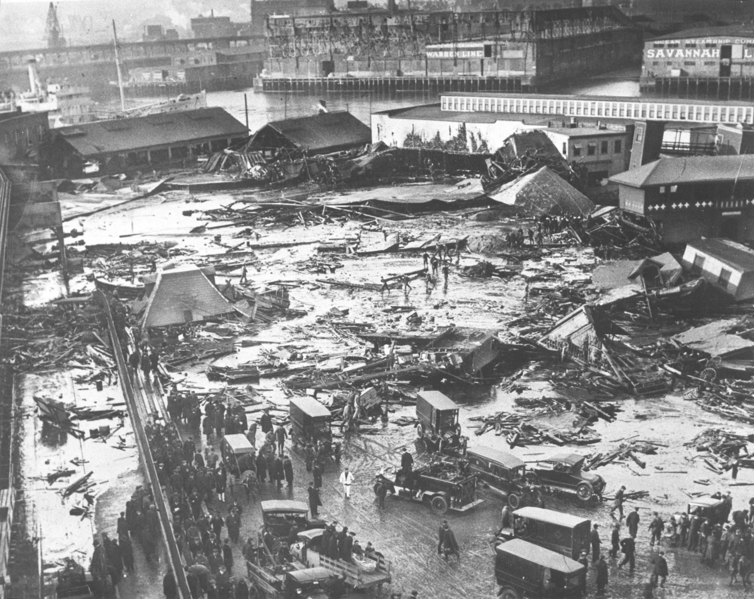 A molasses tank collapsed and caused widespread damage in Boston's North End in January 1919. The incident is commonly referred to as the Great Molasses Flood.