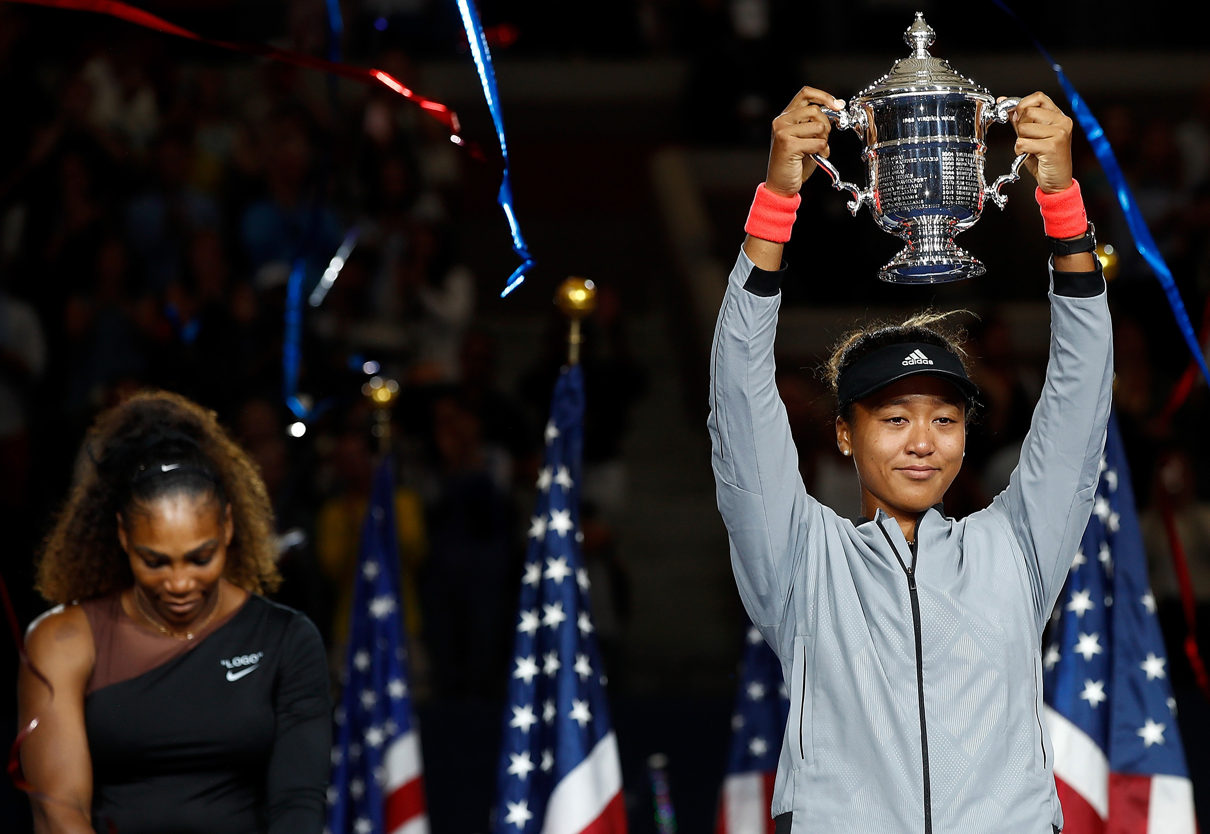 At the U.S. Open trophy ceremony, Osaka apologized to booing fans for beating her idol, Serena Williams