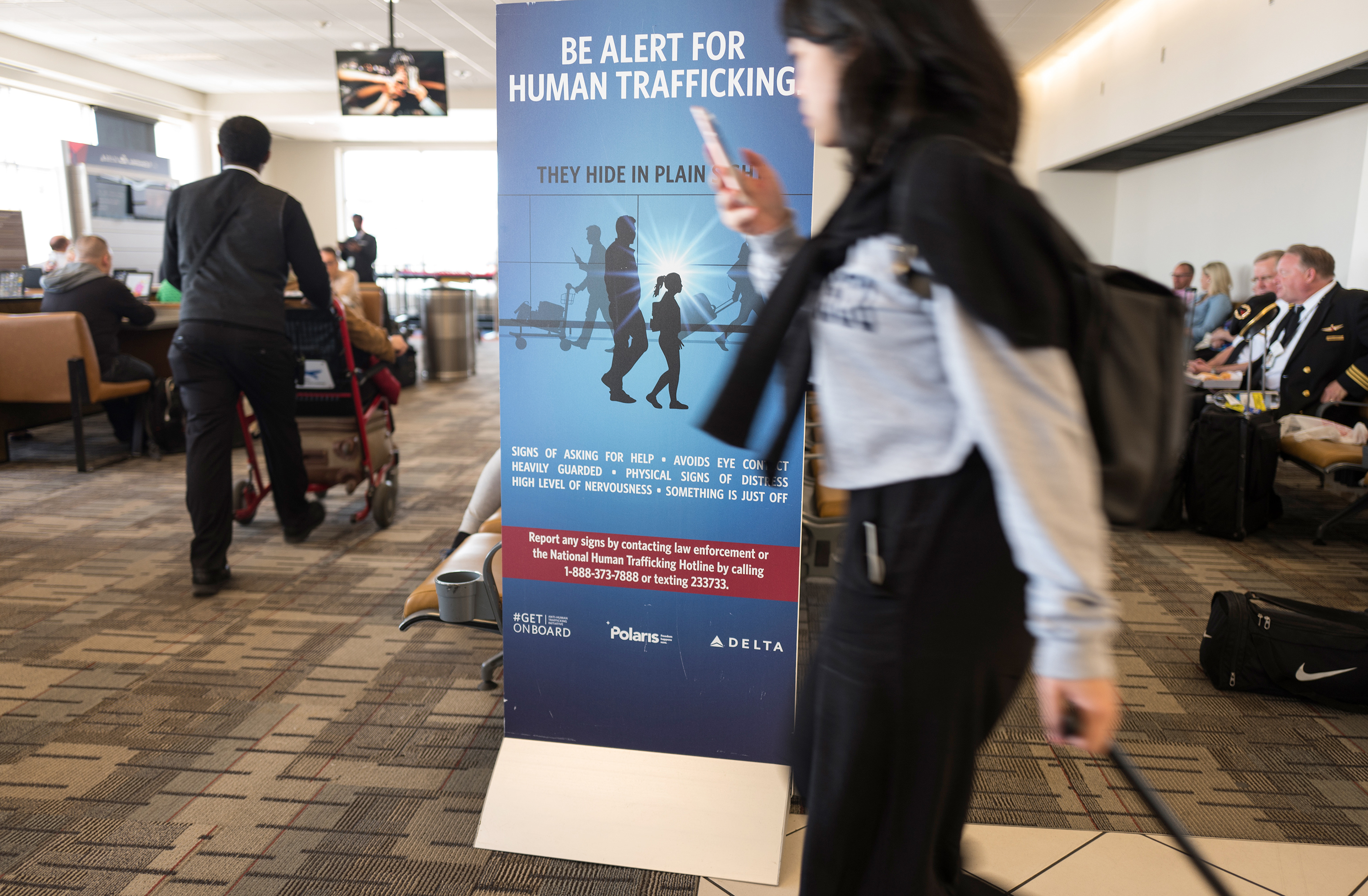 A human trafficking awareness sign in the airport in Minneapolis, MN, April 26, 2018.