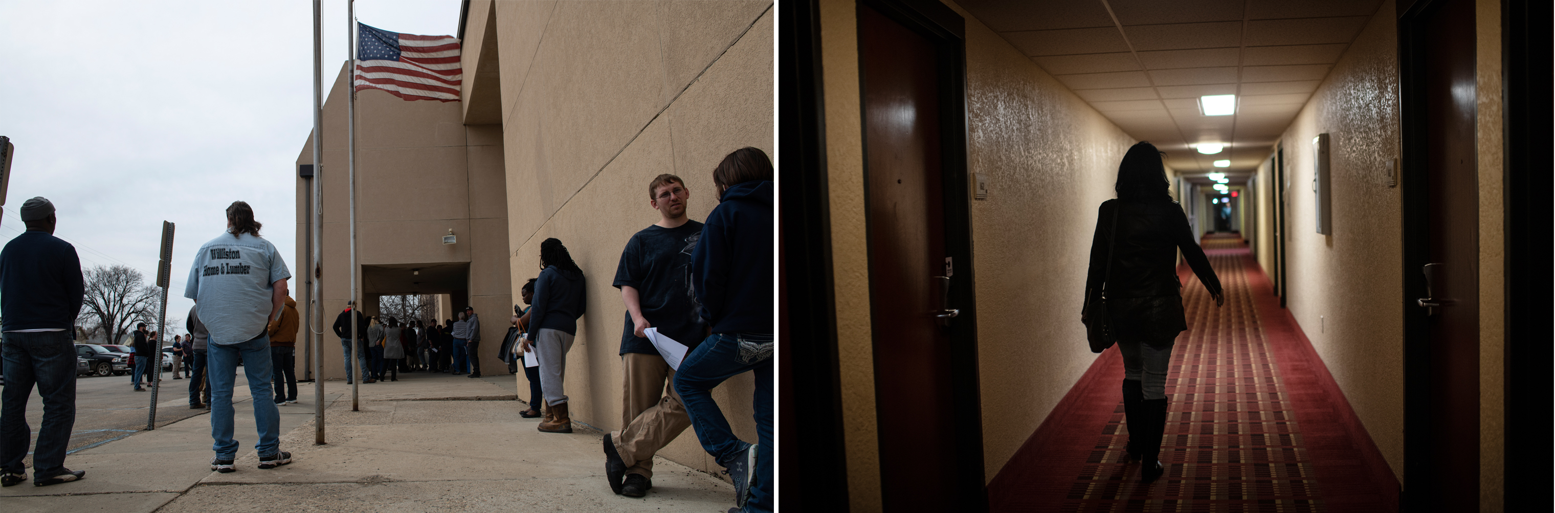 Left: People wait for the doors to open for at a job fair in Williston, North Dakota, April 23, 2018.; Right: Lazenko tours hotels that were at the heart of the trafficking industry during the oil boom, April 24, 2018.
