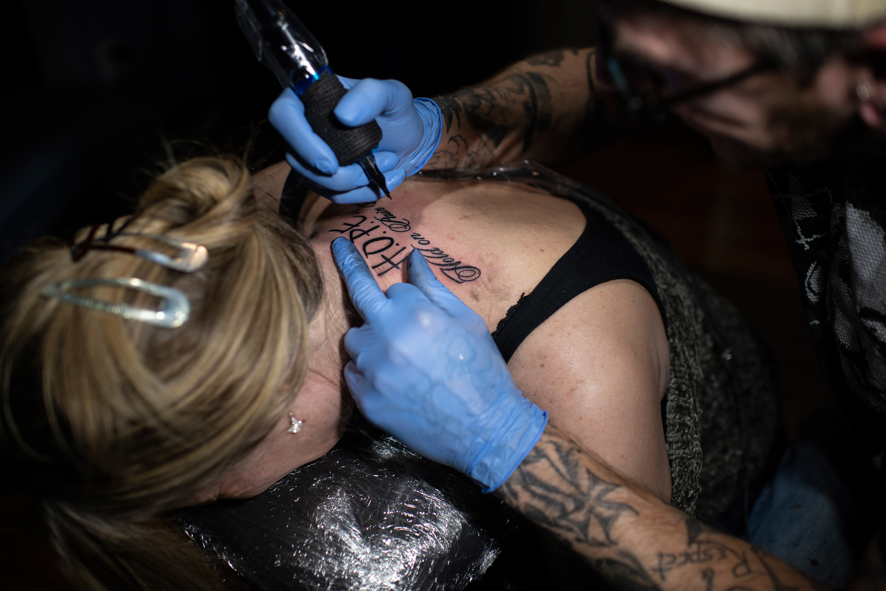 Knoblauch gets a tattoo in April to commemorate her freedom from traffickers