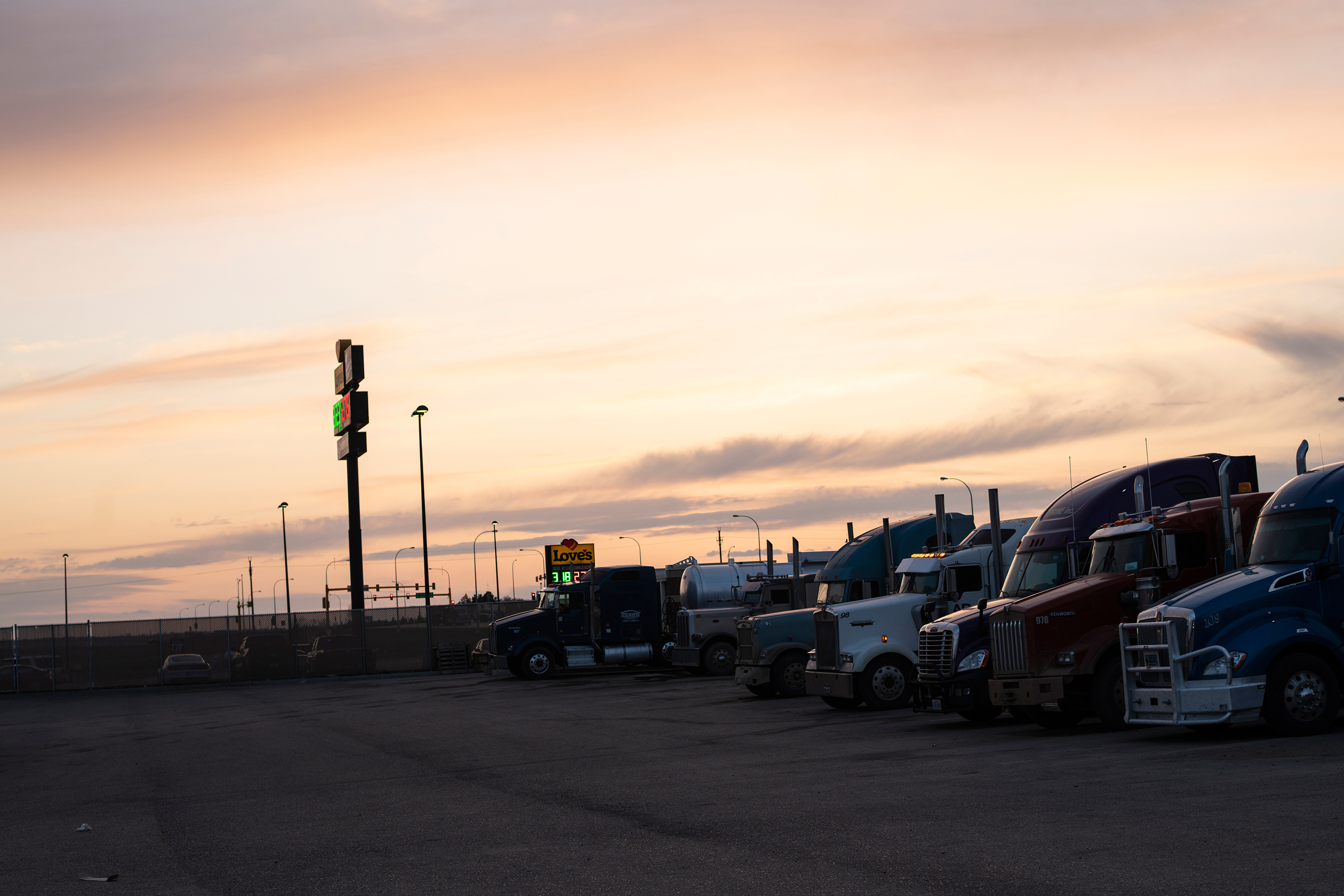 A truck stop in Williston, where Lazenko often searched for women who had gone missing