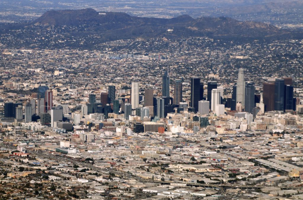 An aerial picture taken on Jan. 3, 2019, shows Los Angeles downtown and Hollywood.