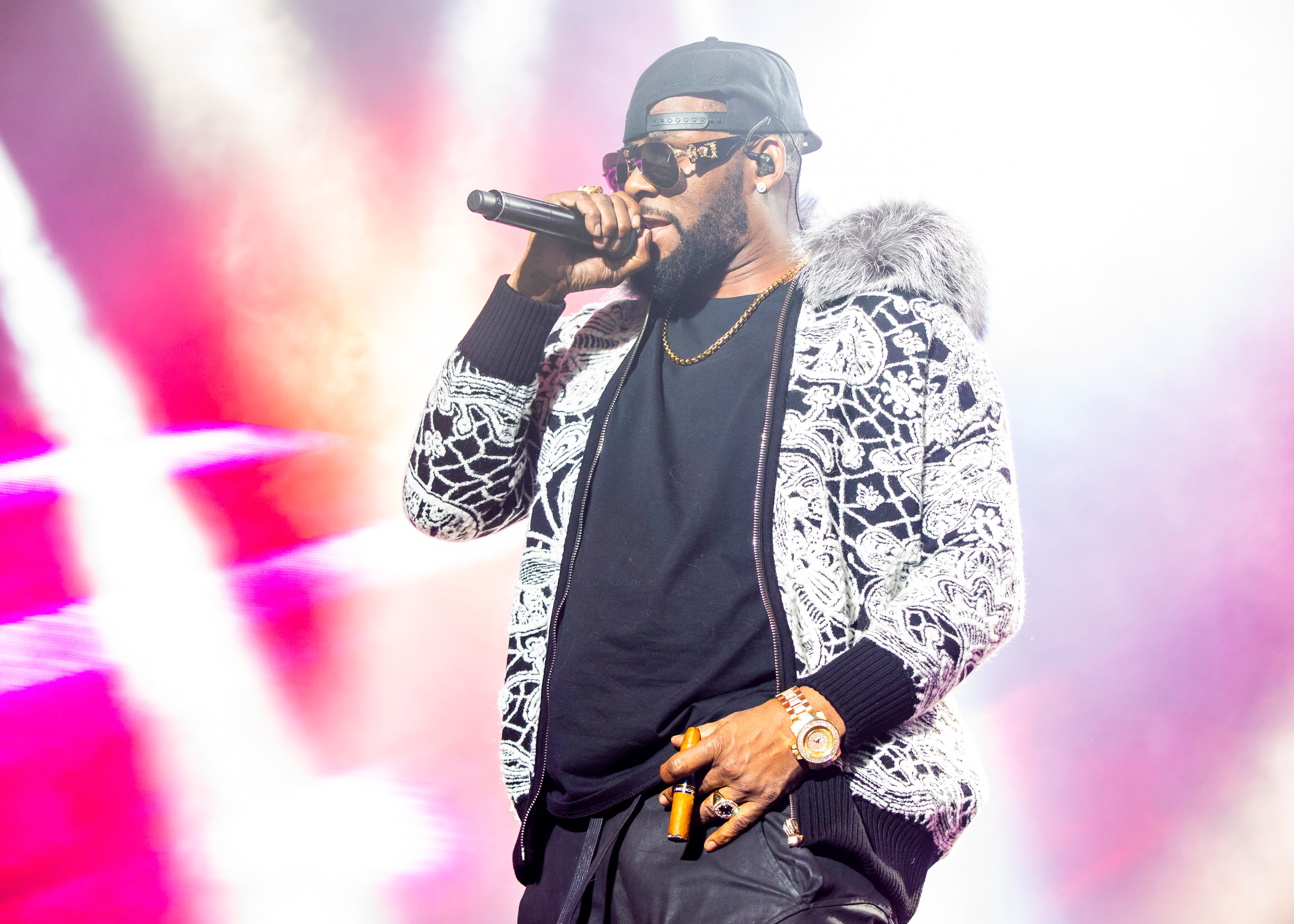 R. Kelly performs at Little Caesars Arena on February 21, 2018 in Detroit, Michigan at Little Caesars Arena on February 21, 2018 in Detroit, Michigan.