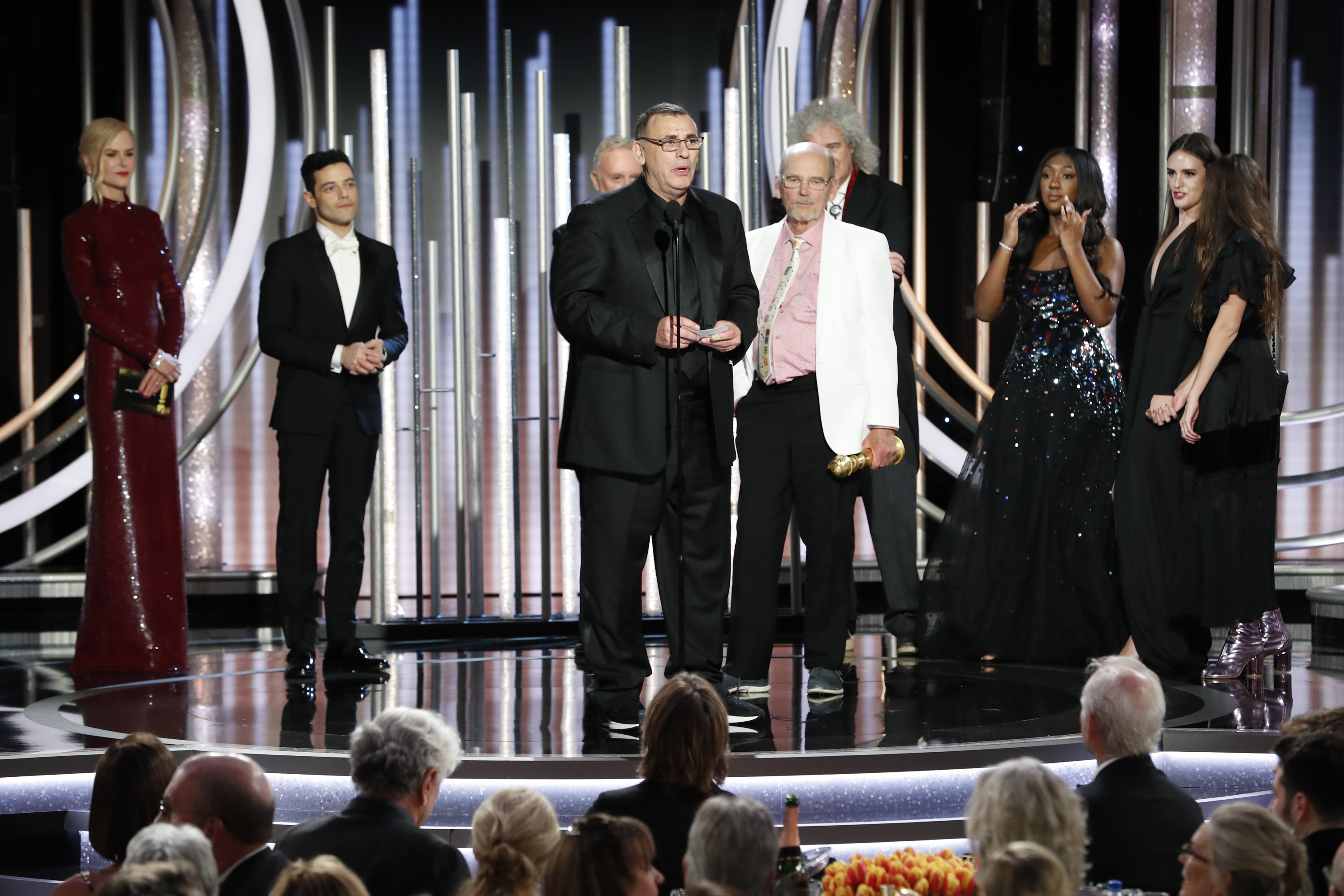"""In this handout photo provided by NBCUniversal, Jim Beach accepts the Best Motion Picture – Drama award for  """"Bohemian Rhapsody"""" speak onstage during the 76th Annual Golden Globe Awards at The Beverly Hilton Hotel on January 06, 2019 in Beverly Hills, California.  (Photo by Paul Drinkwater/NBCUniversal via Getty Images)"""