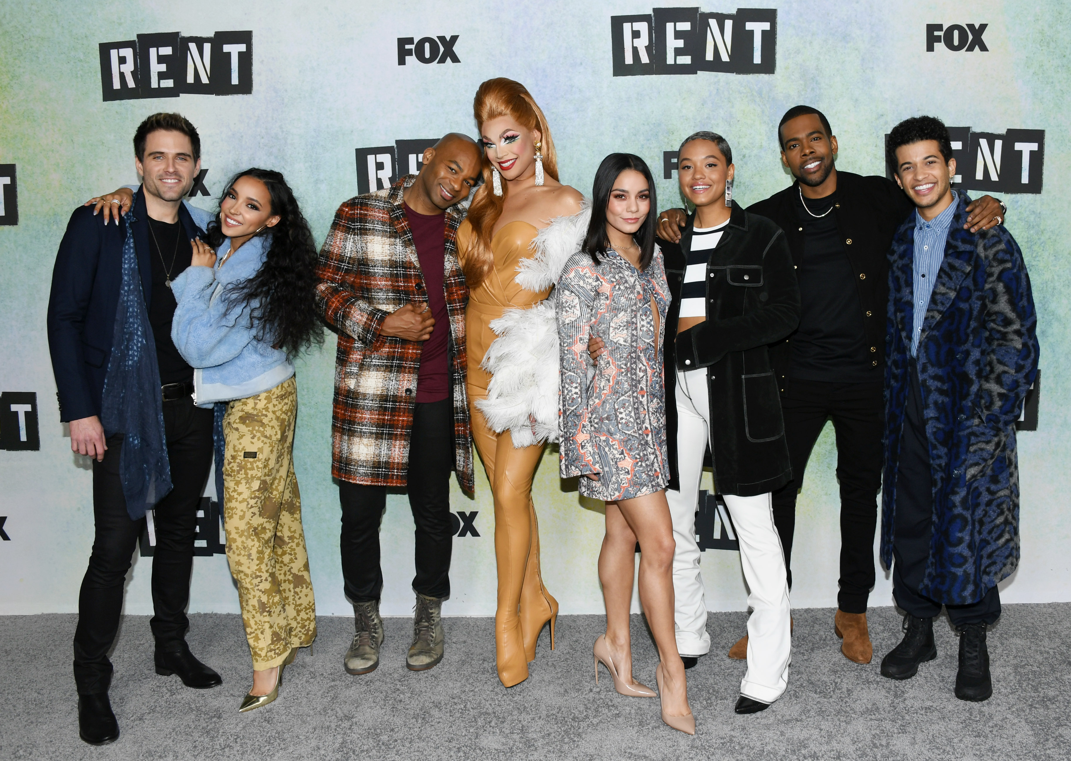 Brennin Hunt, Tinashe, Brandon Victor Dixon, Valentina, Vanessa Hudgens, Kiersey Clemons, Mario and Jordan Fisher attend FOX Hosts  RENT  Press Junket at Fox Studio Lot on Jan. 08, 2019 in Century City, Calif.