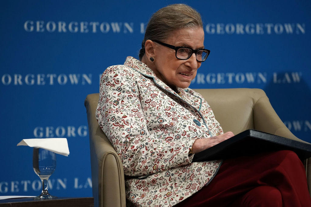 U.S. Supreme Court Justice Ruth Bader Ginsburg participates in a lecture September 26, 2018 at Georgetown University Law Center in Washington, DC.