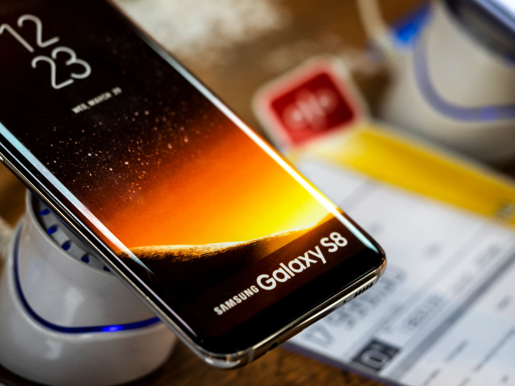 Samsung Galaxy 8s phone seen in the store.