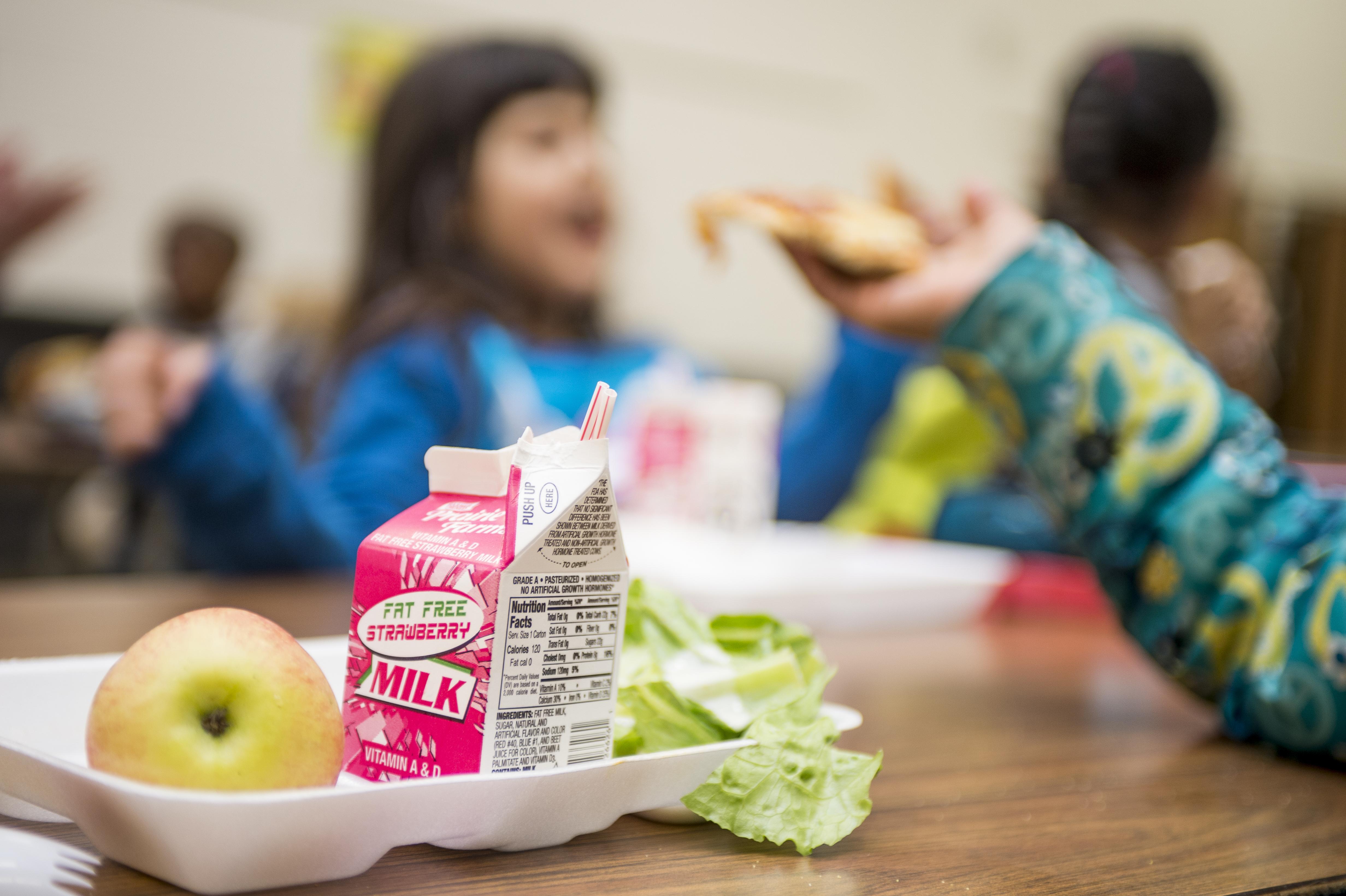 Arcadia Elementary School students eat lunch on Nov. 18, 2016 in Kalamazoo, Michigan.