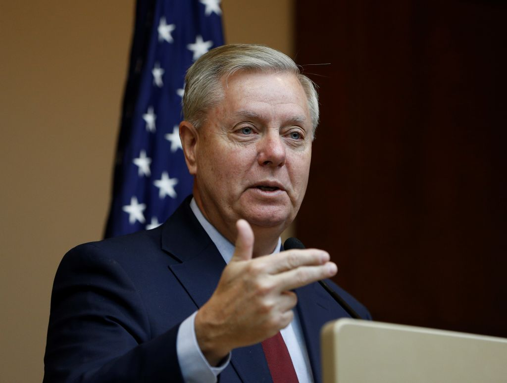 US Senator Lindsey Graham holds a media conference at JW Marriott Hotel in Ankara, Turkey on January 19, 2019. He claims that the government shutdown in the U.S. could end  in a couple of weeks .