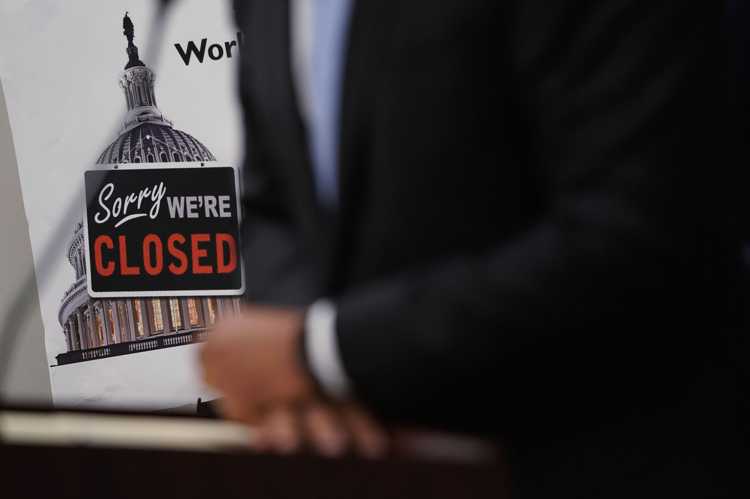 A  Closed  sign is seen during a news conference after a House Democratic Caucus meeting at the U.S. Capitol Jan. 9, 2019 in Washington, DC.
