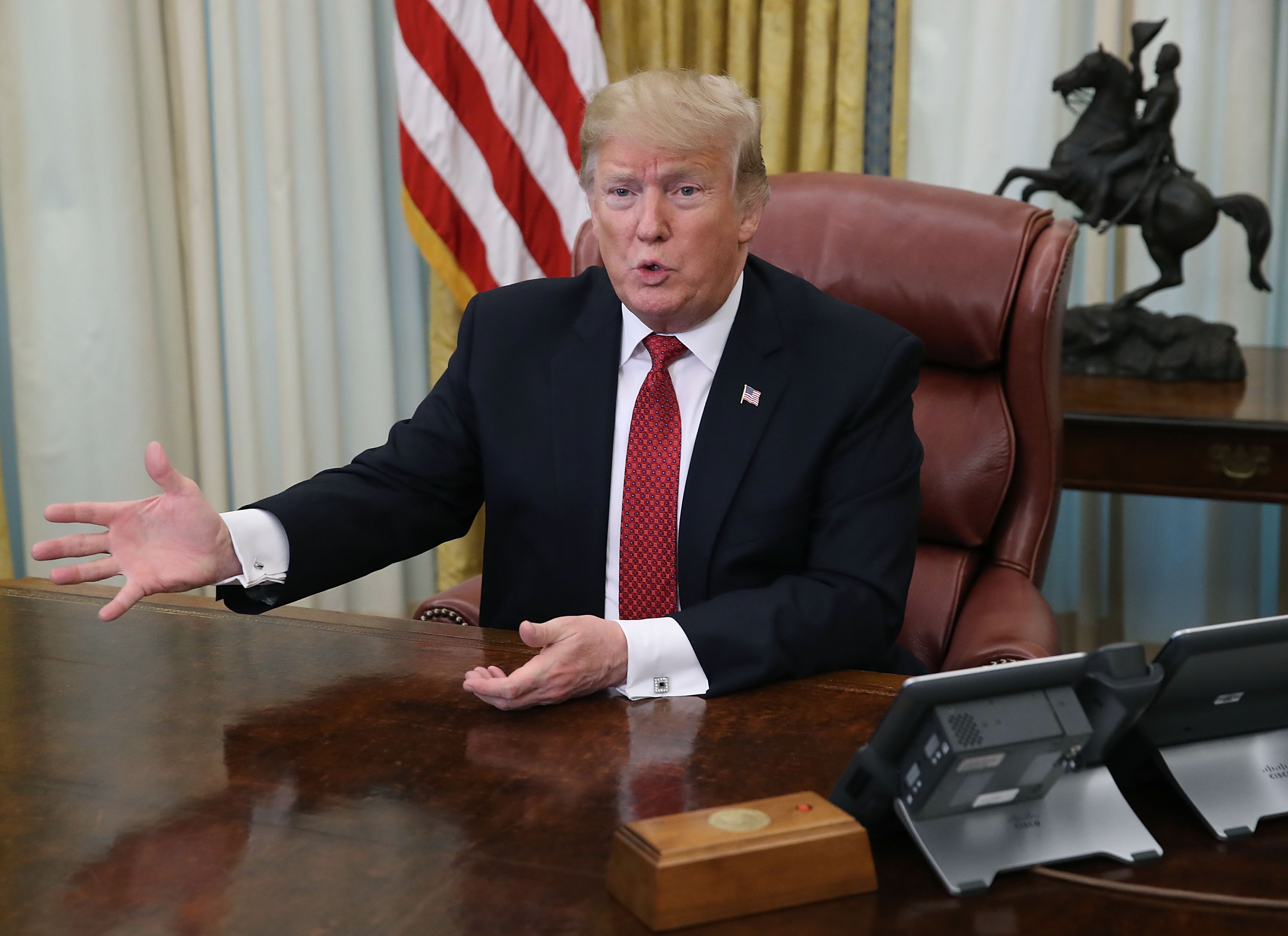 U.S. President Donald Trump speaks during a meeting with Chinese Vice Premier Liu He in the Oval Office at the White House on January 31, 2019 in Washington, D.C., the same day he met with his intelligence chiefs