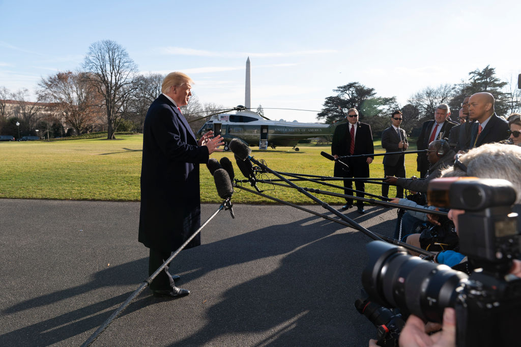 U.S. President Donald Trump speaks to the media upon his return to the White House after a day trip to Camp David on January 6, 2019 in Washington, DC.