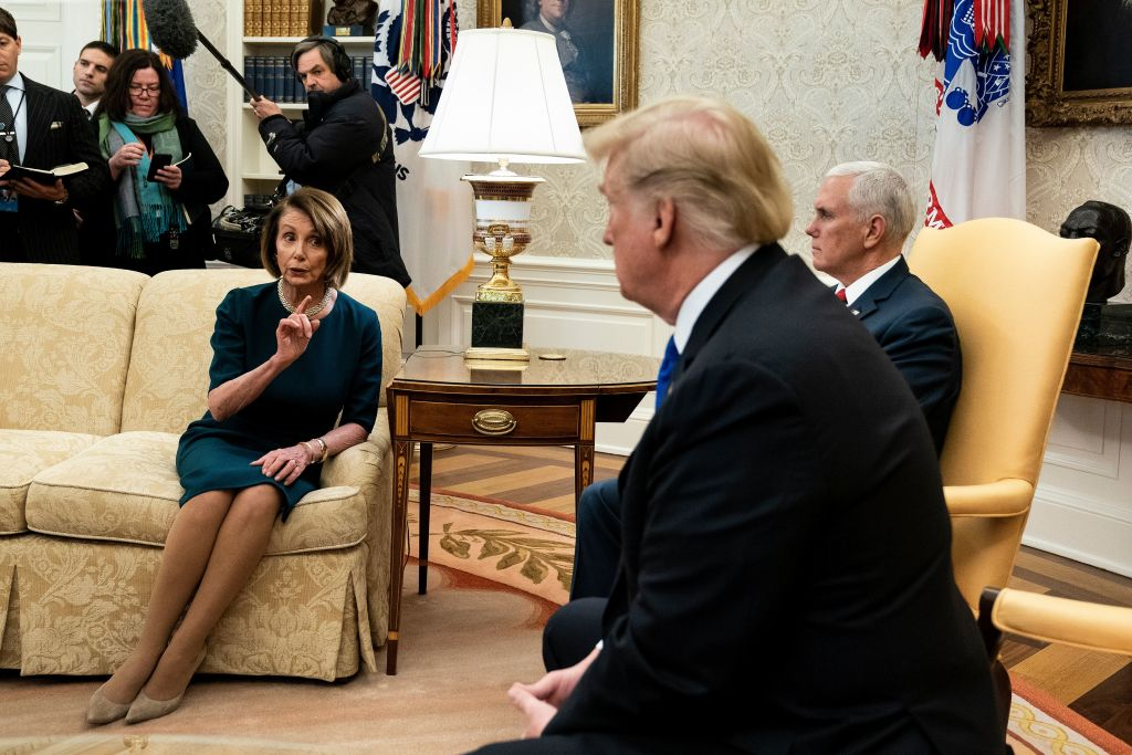 House Speaker Nancy Pelosi  and U.S. President Donald Trump argue before a meeting at the White House on Dec. 11, 2018 in Washington, DC.
