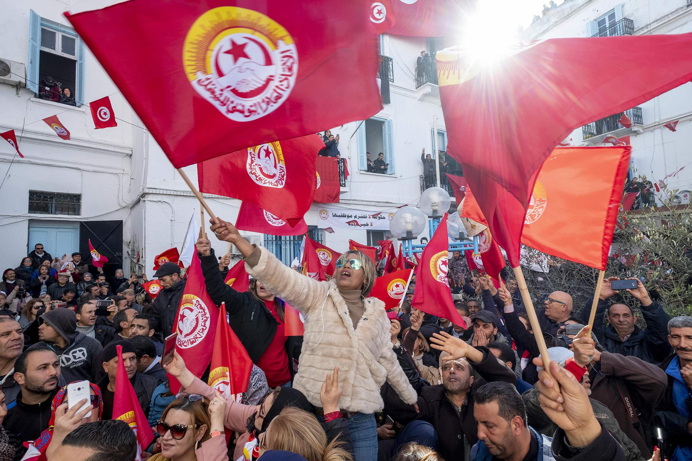 Civil Servants stage a protest within the public officials' strike, demanding the rise of their wage, after the strike call by Tunisian General Labour Union in Tunis, Tunisia on January 17, 2019.