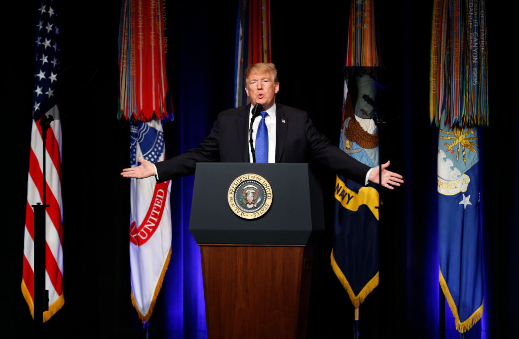 U.S. President Donald J. Trump speaks during a Missile Defense Review announcement on Jan. 17, 2019 at the Pentagon, in Arlington, Virginia. The State Department said on Jan. 17, 2019 that U.S. diplomats are to return to work with pay next week amid government shutdown.